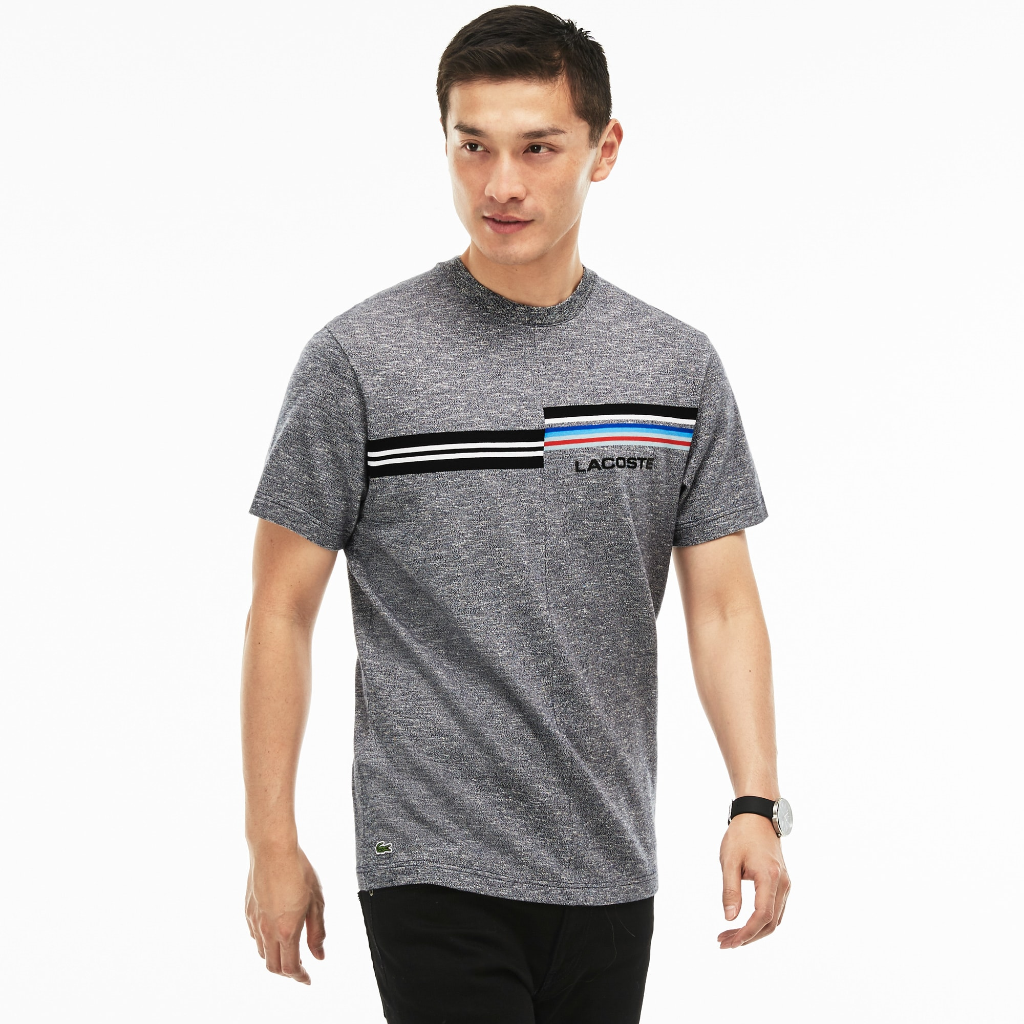 Men's 3D  Branding and Print Jersey Crew Neck T-shirt