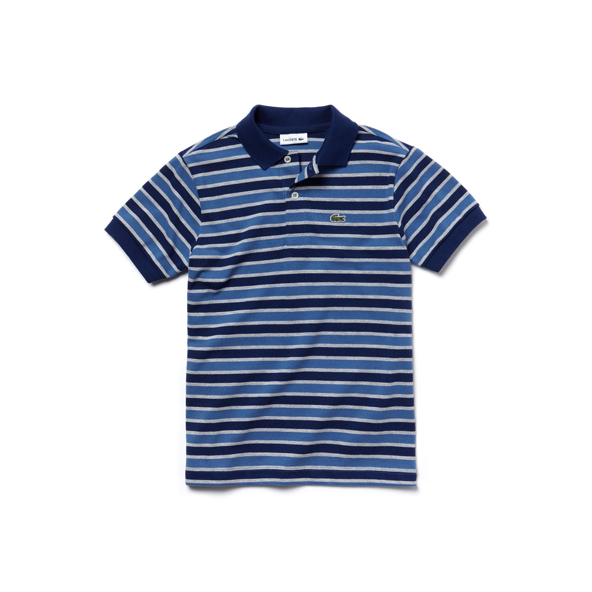 Boys'  Striped Cotton Petit Piqué Polo