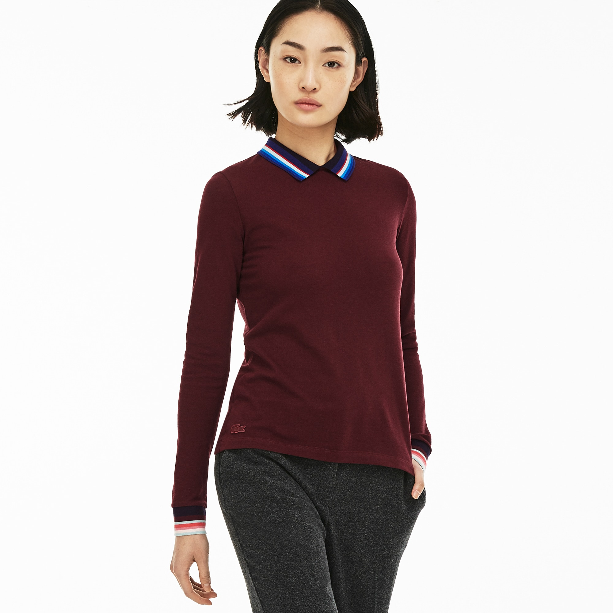 Women's Slim Fit Polo With Striped Ribbing