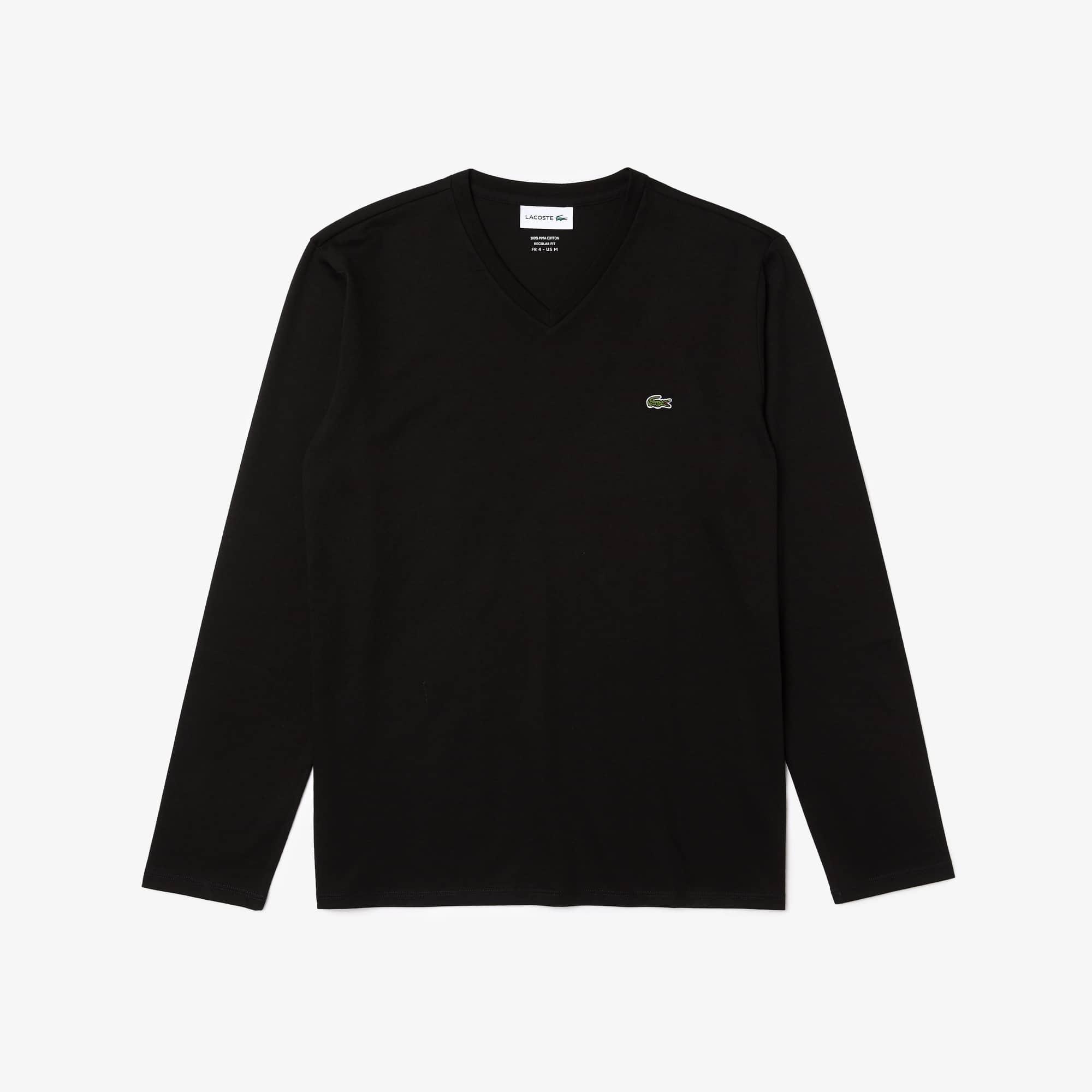 라코스테 브이넥 긴팔 티셔츠 블랙 Lacoste Mens V-neck Pima Cotton Jersey T-shirt, black