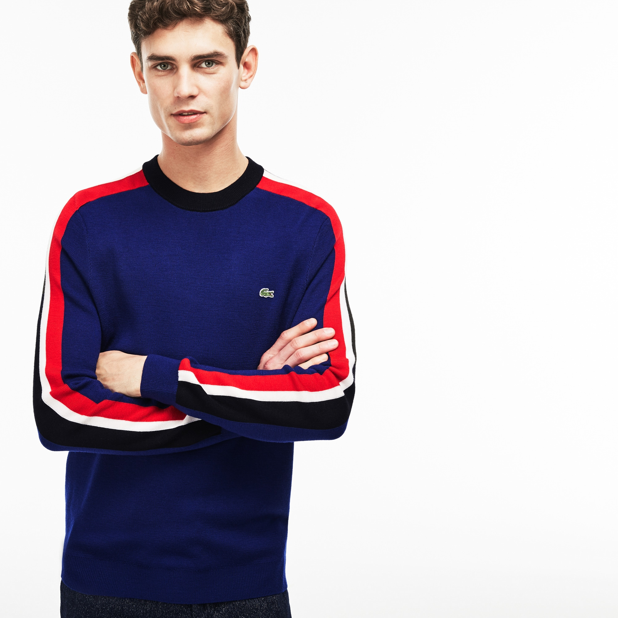 Men's Crew Neck Ribbed Wool Colorblock Stripe Sweater