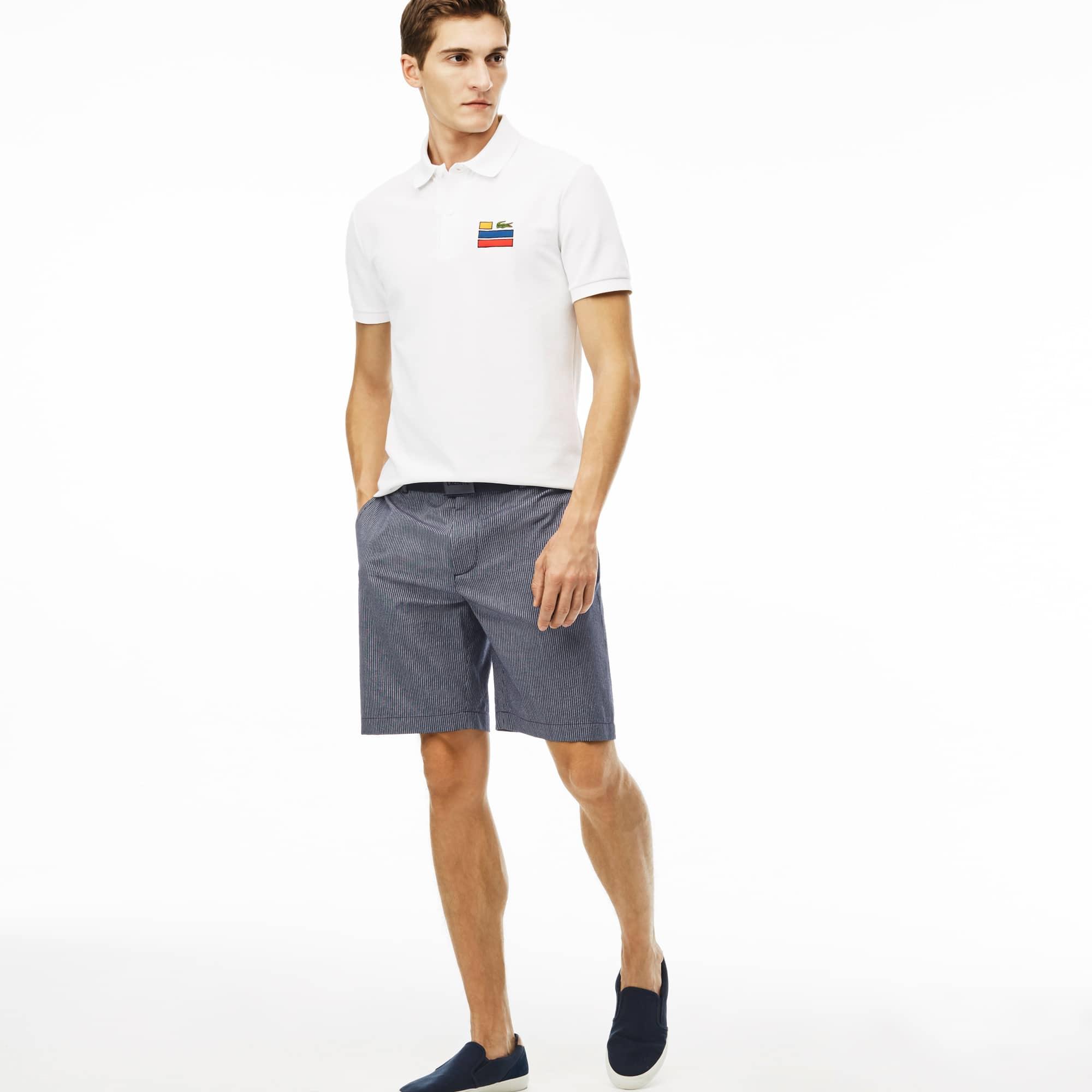 Men's Striped Cotton Crepon Bermuda Shorts