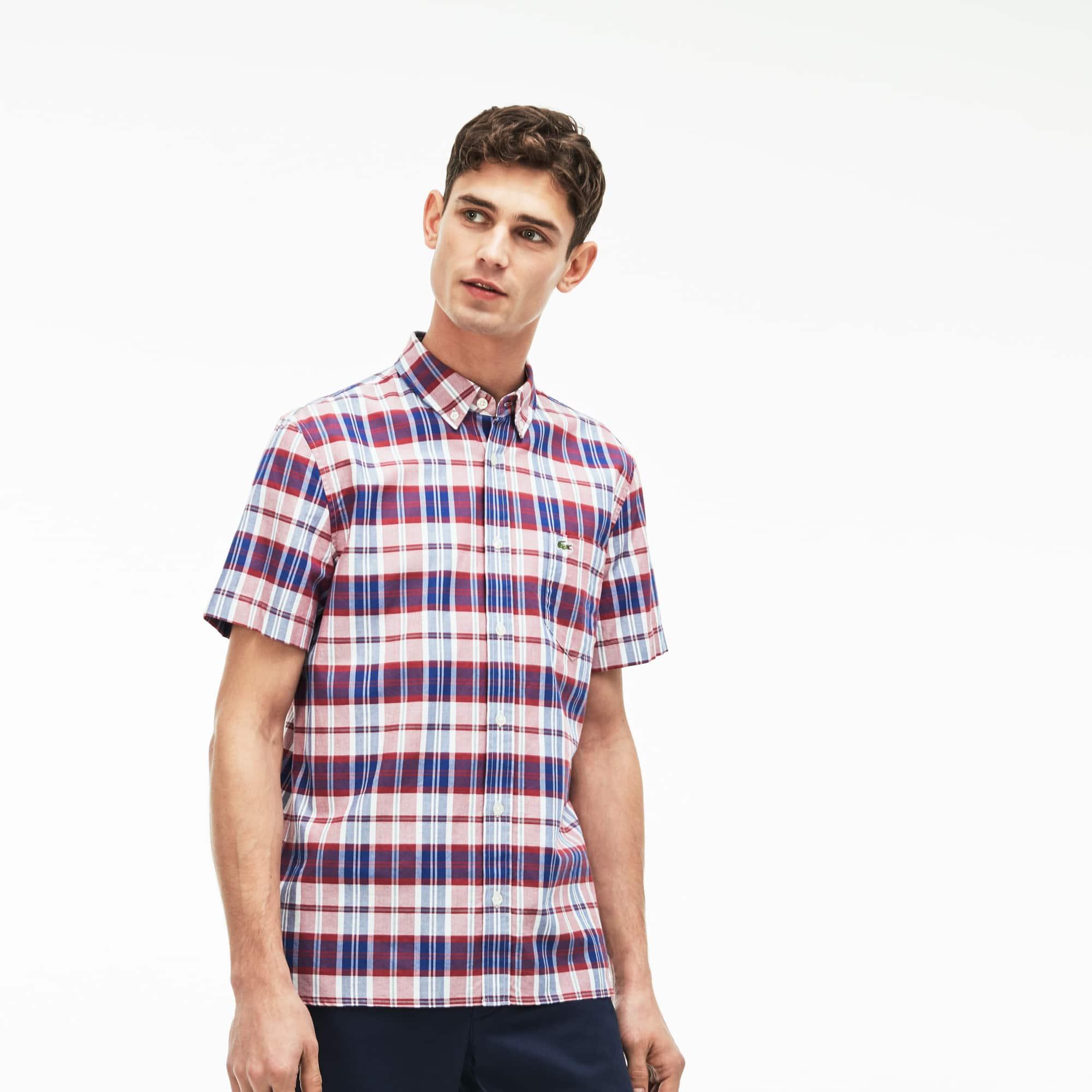 388db521f Men's Regular Fit Check Oxford Shirt | LACOSTE