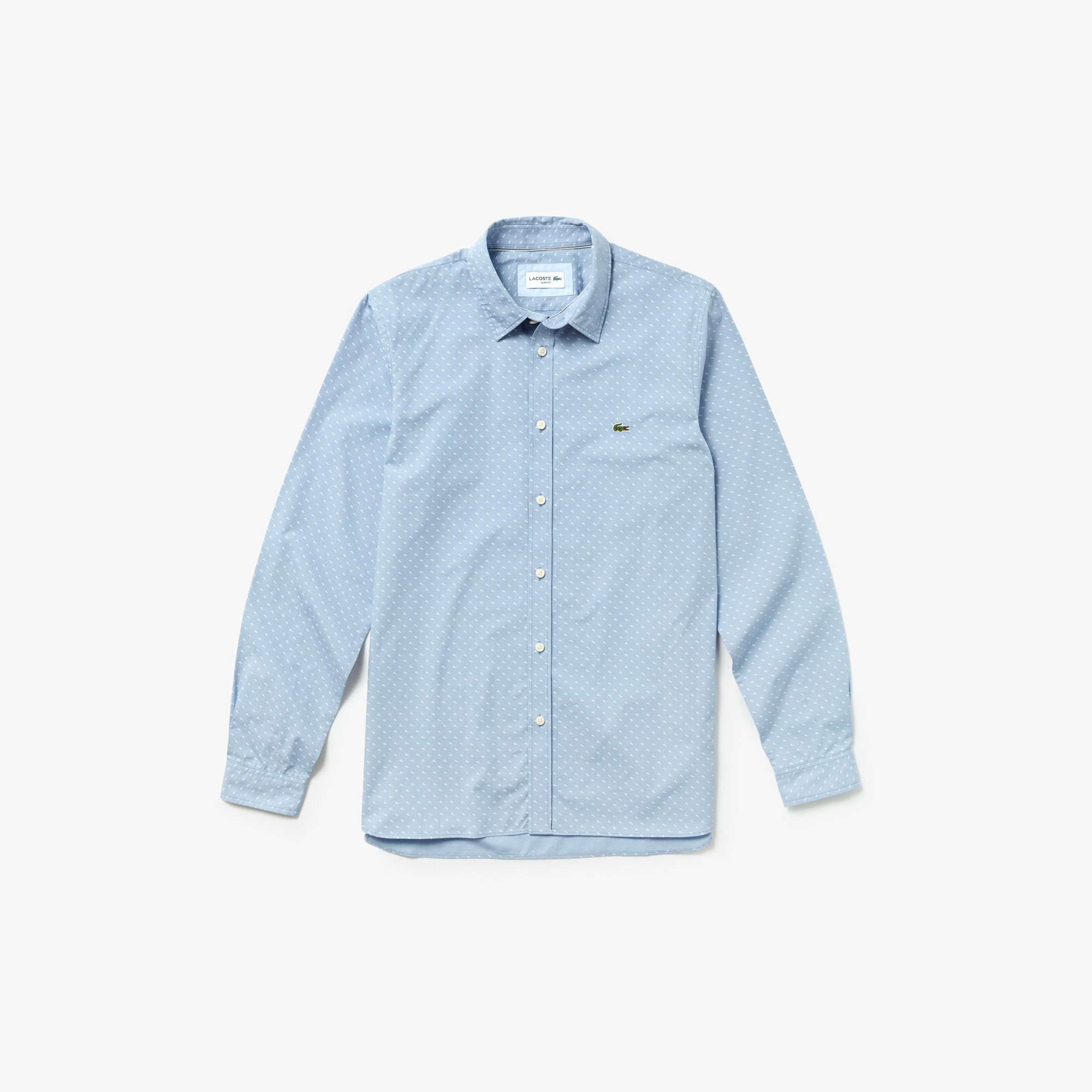 라코스테 Lacoste Mens Slim Fit Cotton Poplin Shirt,Light Blue / White