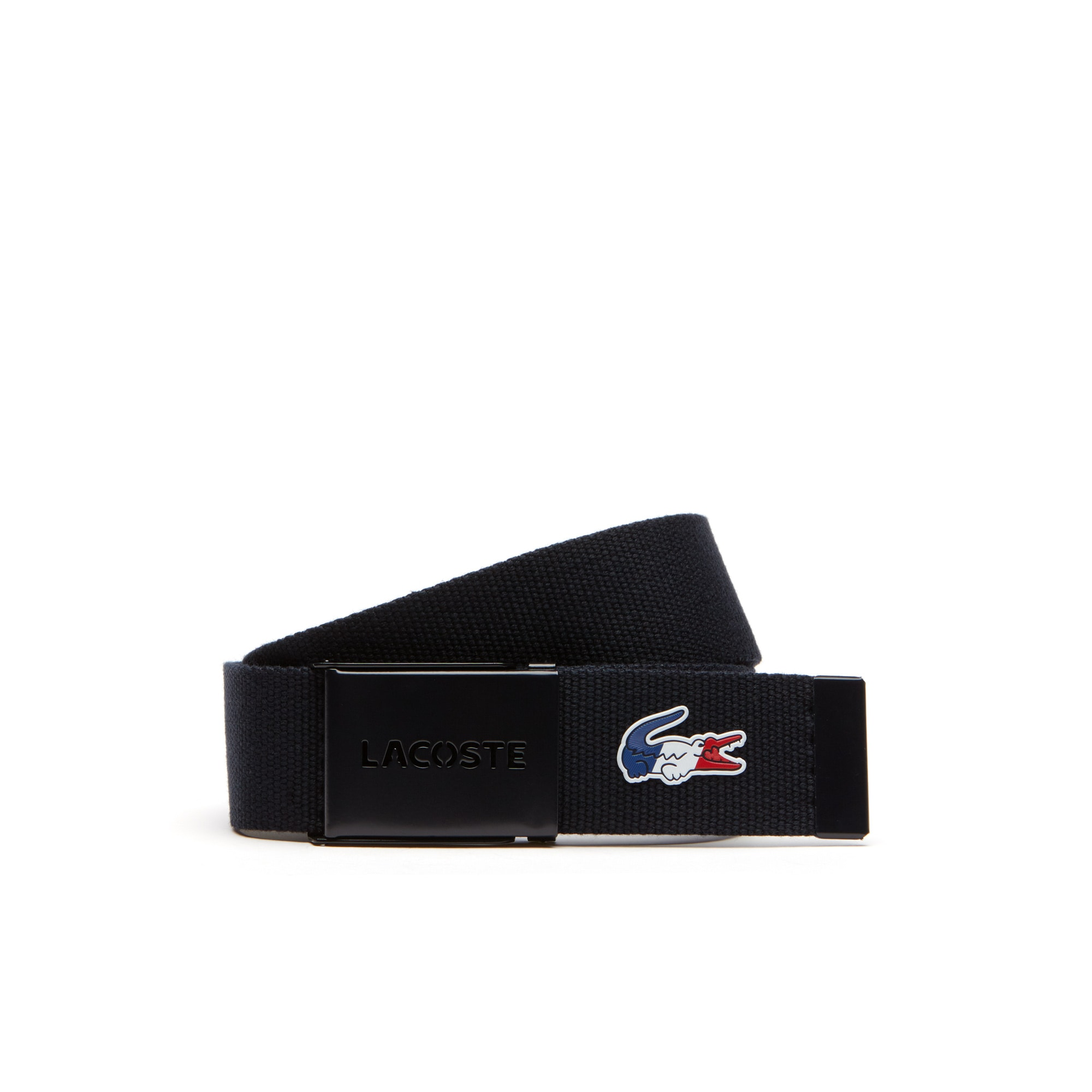Men's Perforated Lacoste Buckle And Tricolor Crocodile Belt
