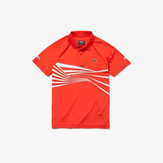 [노박 조코비치 컬렉션] 라코스테 스포츠 테니스 테크 저지 폴로 셔츠 Lacoste Mens SPORT Novak Djokovic Collection Tech Jersey Polo,Red / White