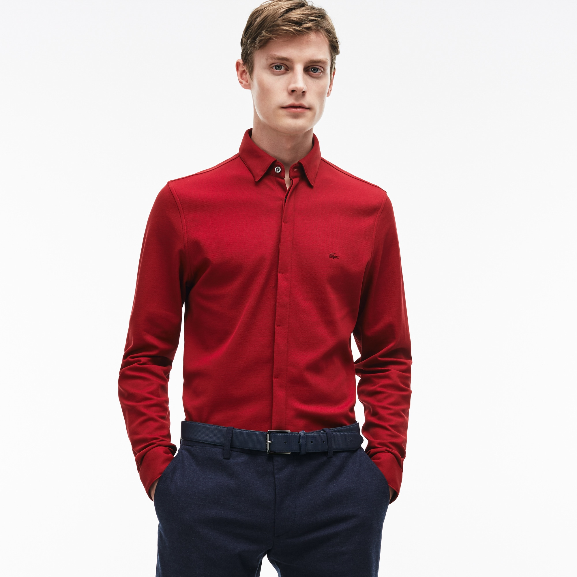 Men's Slim Fit Texturized Cotton Jersey Shirt