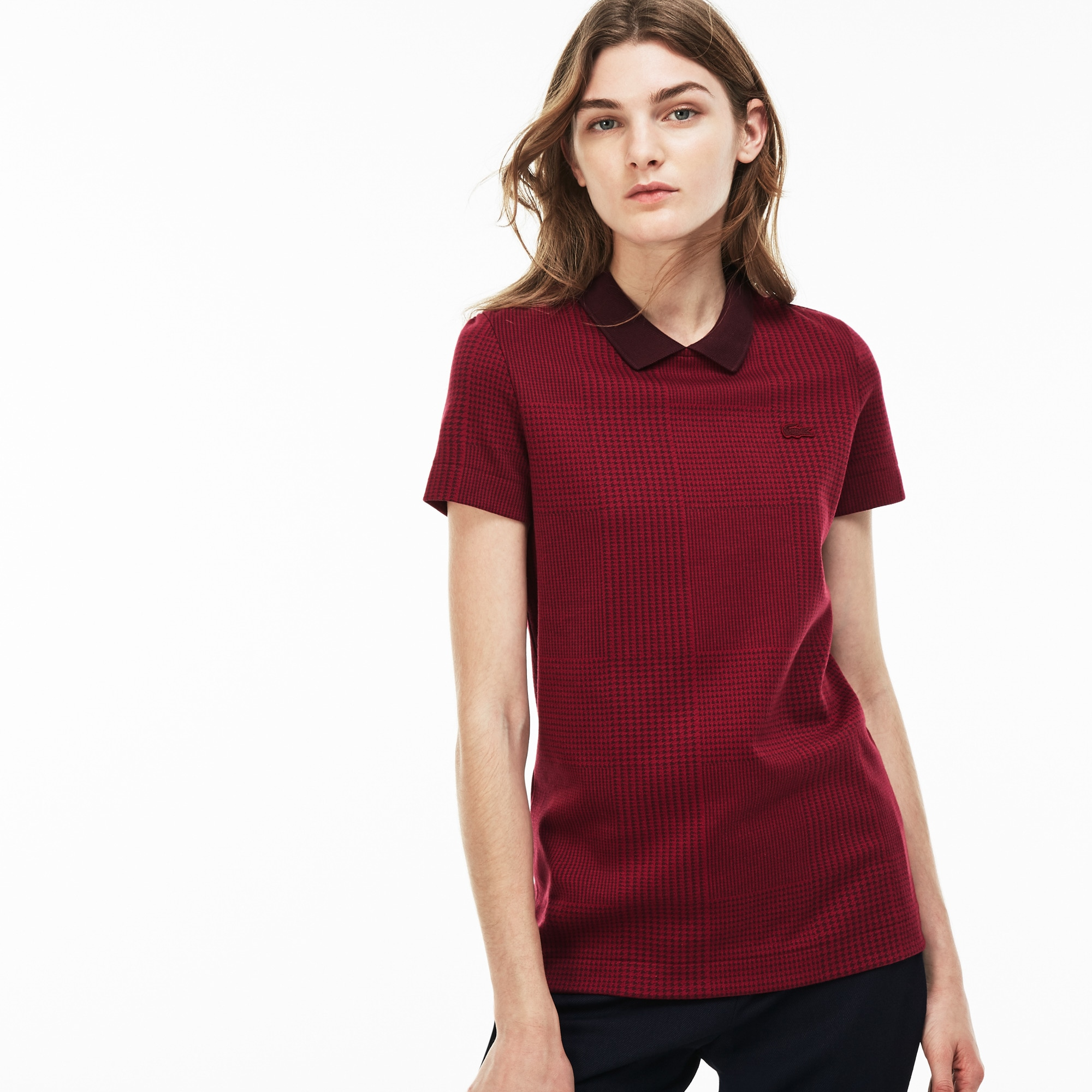 Women's  Slim Fit Glen Plaid Mini Jacquard Polo