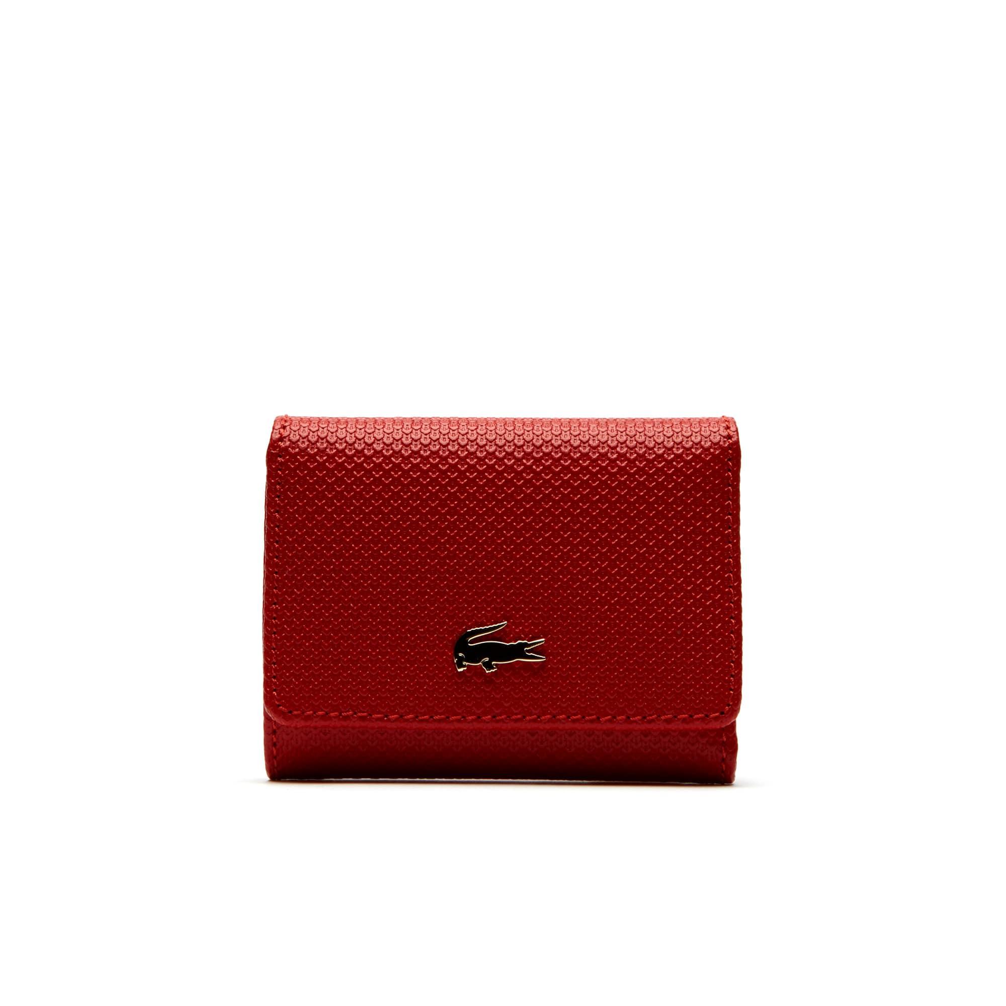 라코스테 지갑 Lacoste Womens Chantaco Pique Leather Six Card Wallet,high risk red
