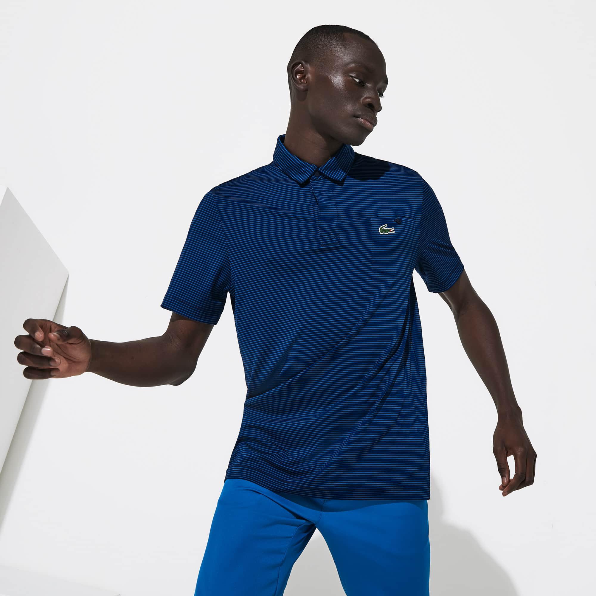 라코스테 Lacoste Mens SPORT Breathable Striped Golf Polo Shirt,Navy Blue / Blue - Y0D