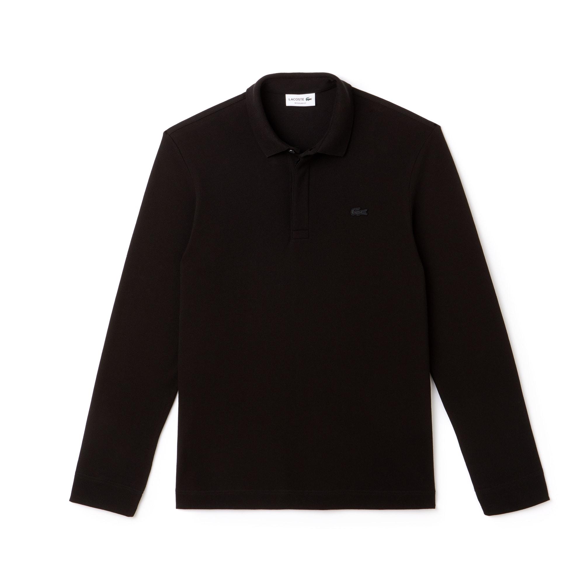 라코스테 Lacoste Mens Long-sleeve Paris Polo Regular Fit Stretch Cotton Pique,black