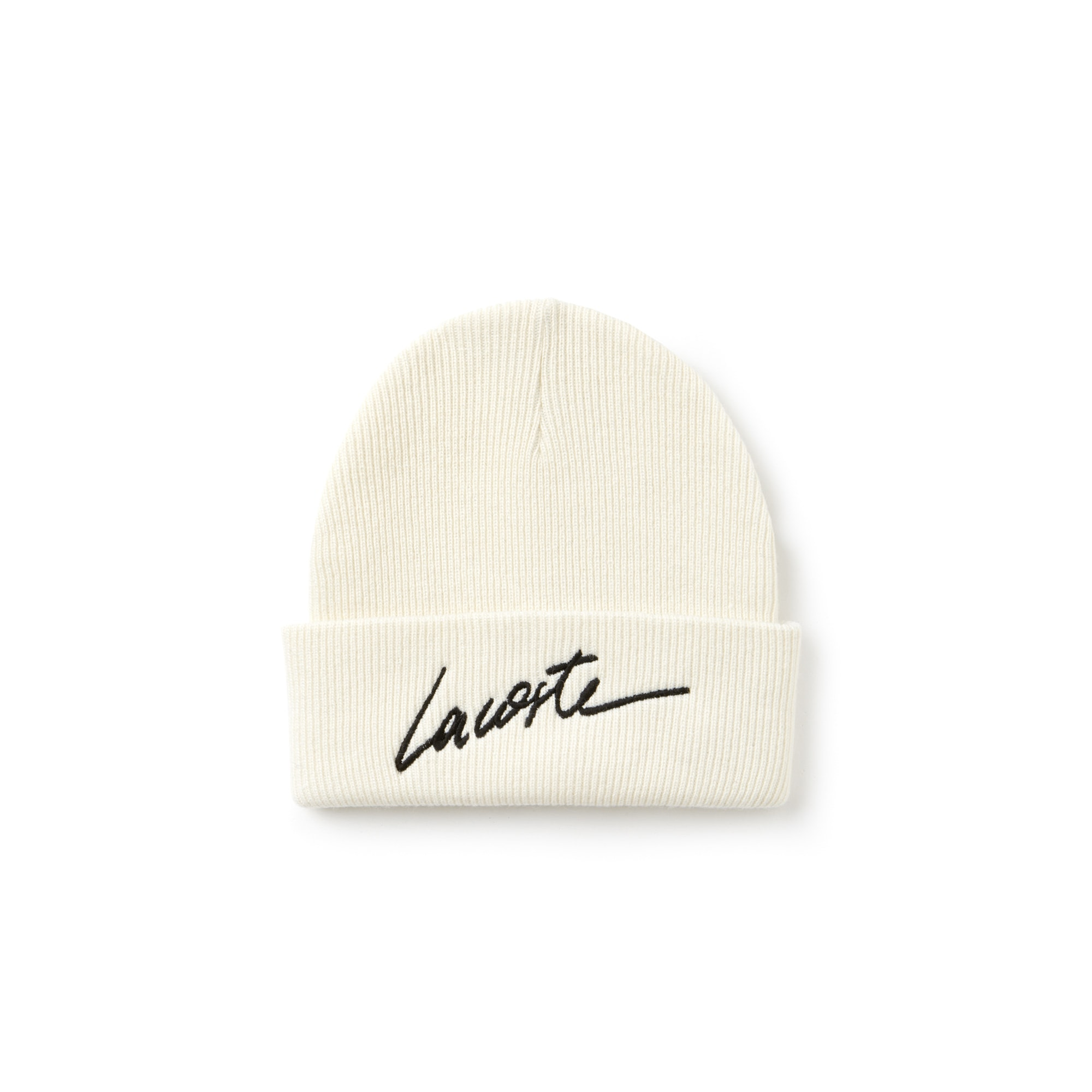 Unisex Lacoste LIVE Turned Edge Ribbed Wool Beanie