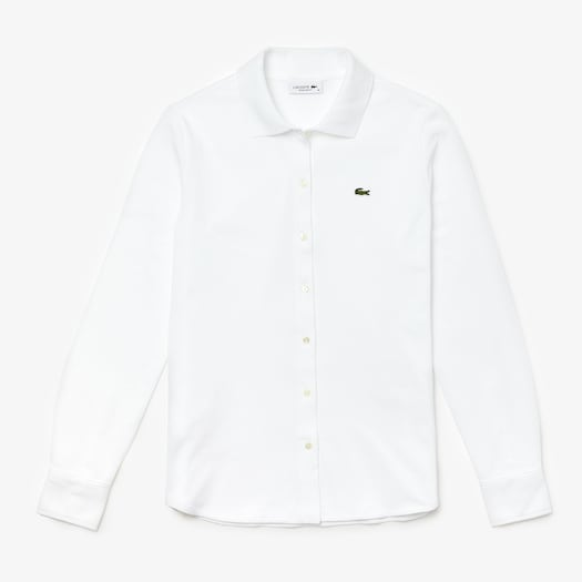 라코스테 우먼 옥스포드 긴팔 폴로 셔츠 Lacoste Women's Soft Cotton Oxford Style Polo Shirt,White - 001