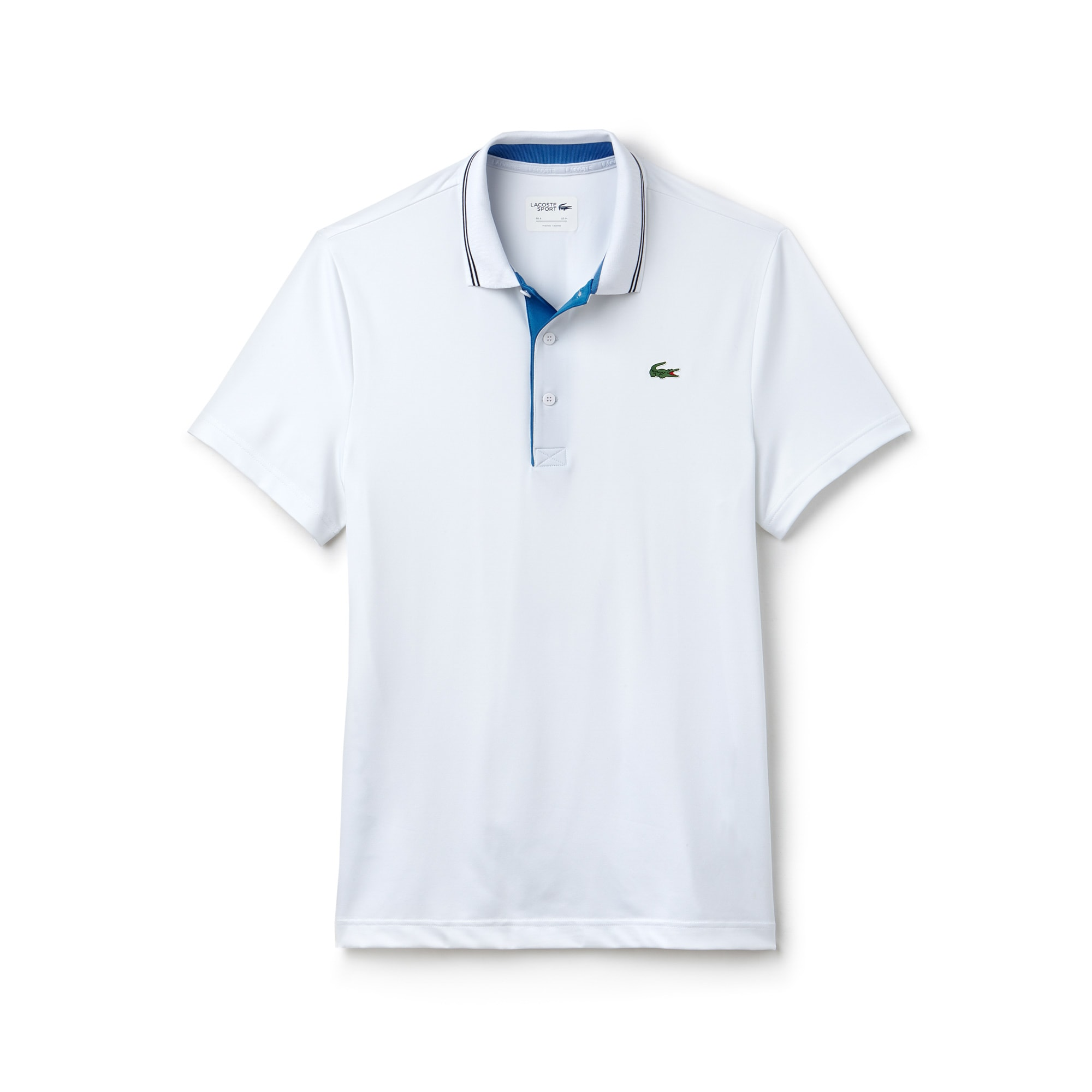 라코스테 Lacoste Mens SPORT Lettering Stretch Technical Jersey Golf Polo Shirt,white / blue / navy blue