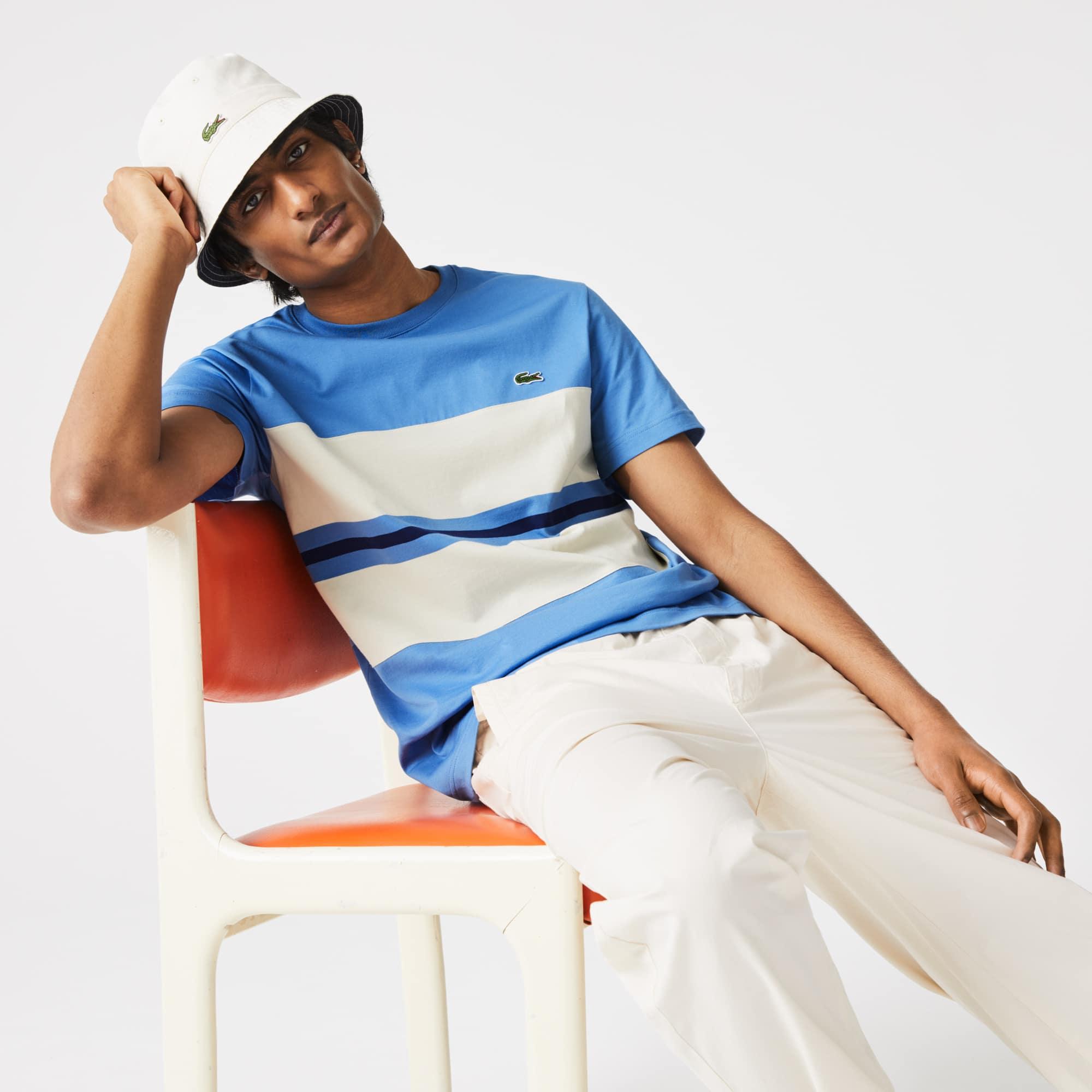 라코스테 Lacoste Men's Crewneck Striped Cotton T-shirt,Blue / Beige / Blue JY8