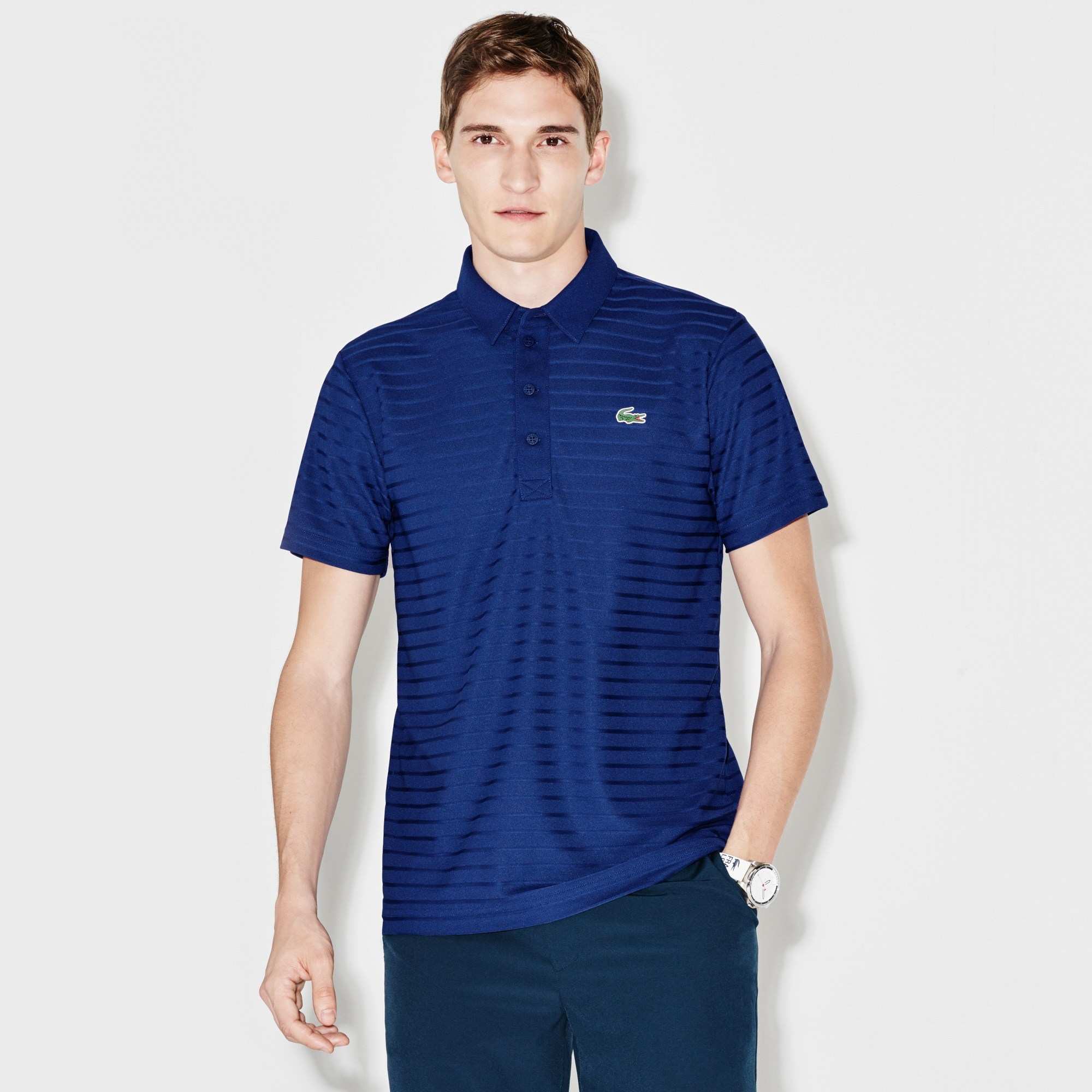 Men's SPORT Golf Striped Tech Jacquard Jersey Polo