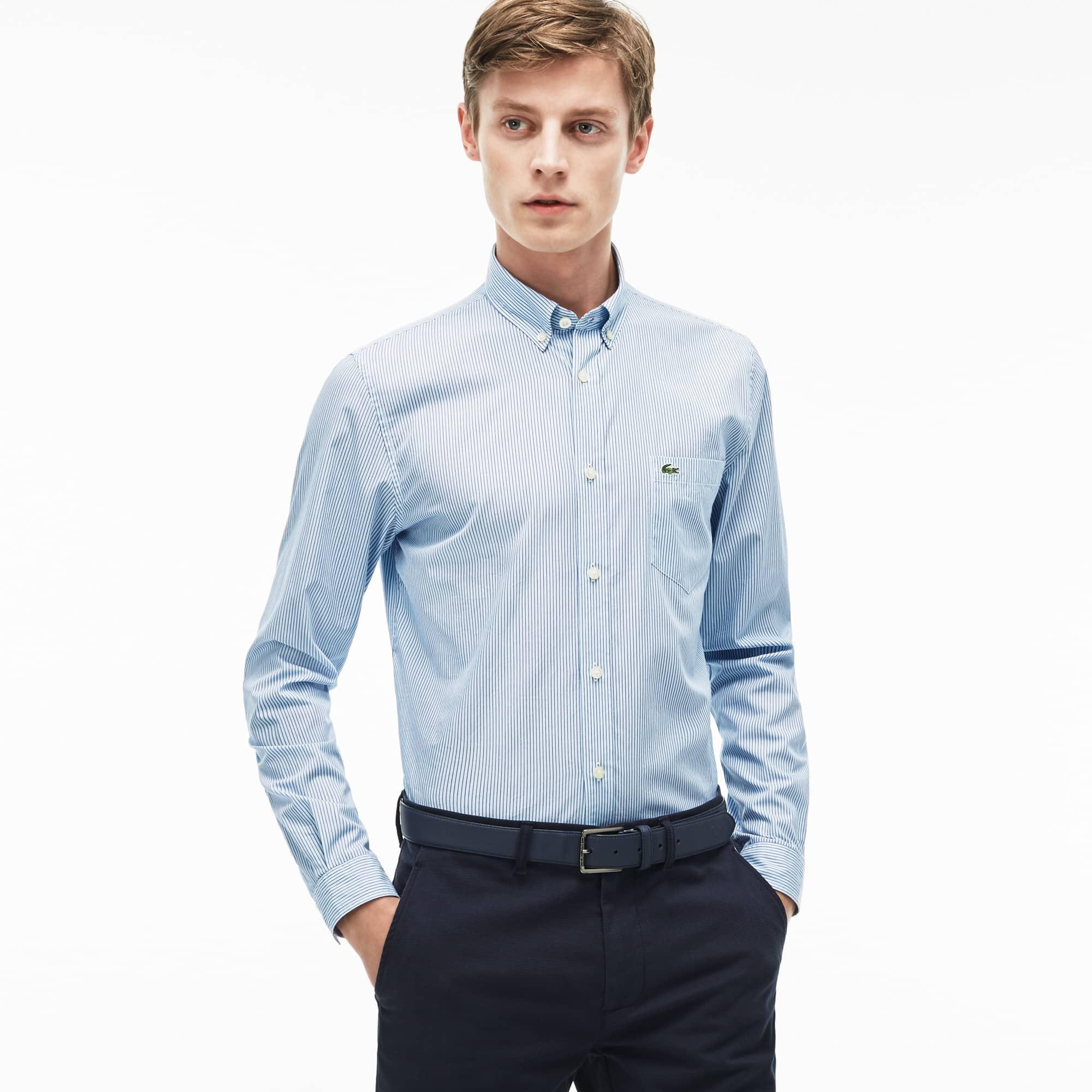 698a589dd Camisa a rayas regular fit en popelín para hombre