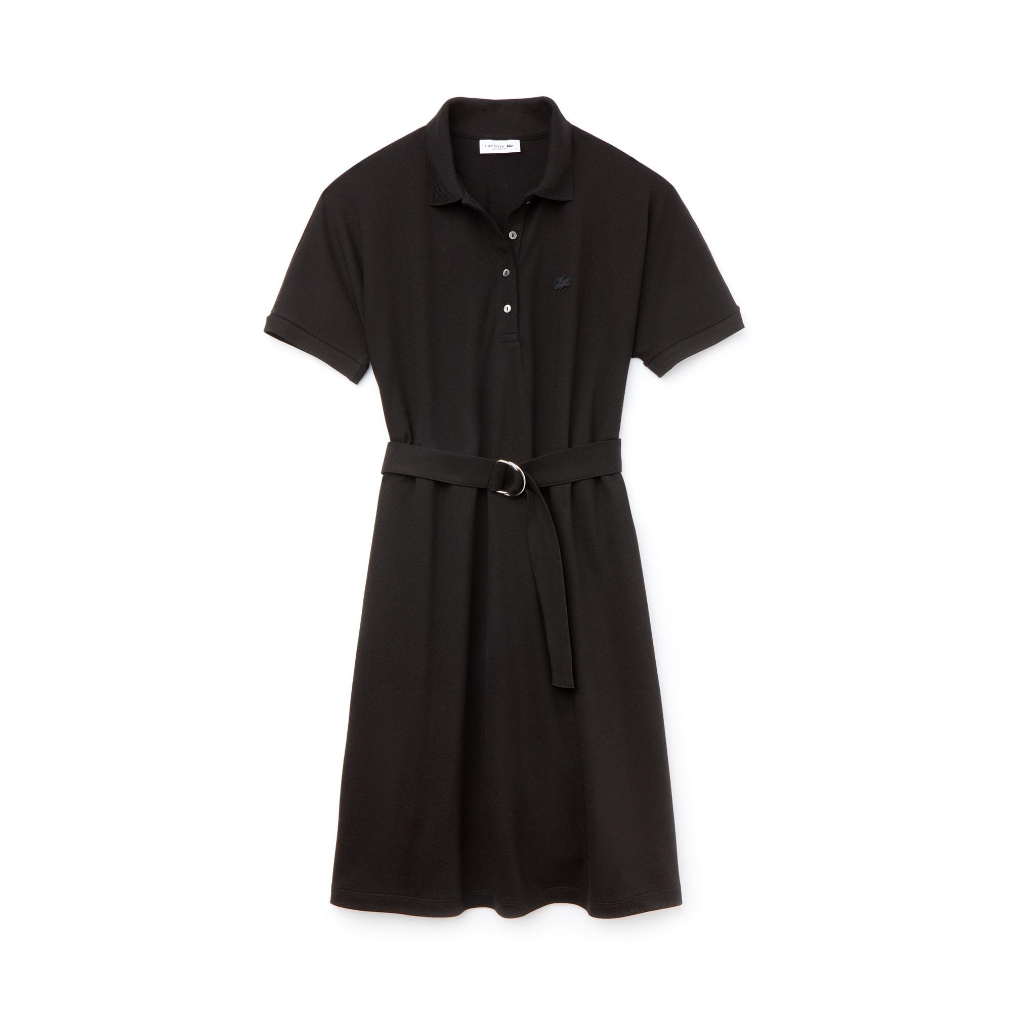 라코스테 피케 원피스 블랙 Lacoste Womens Flowing Cotton Pique Polo Dress,black