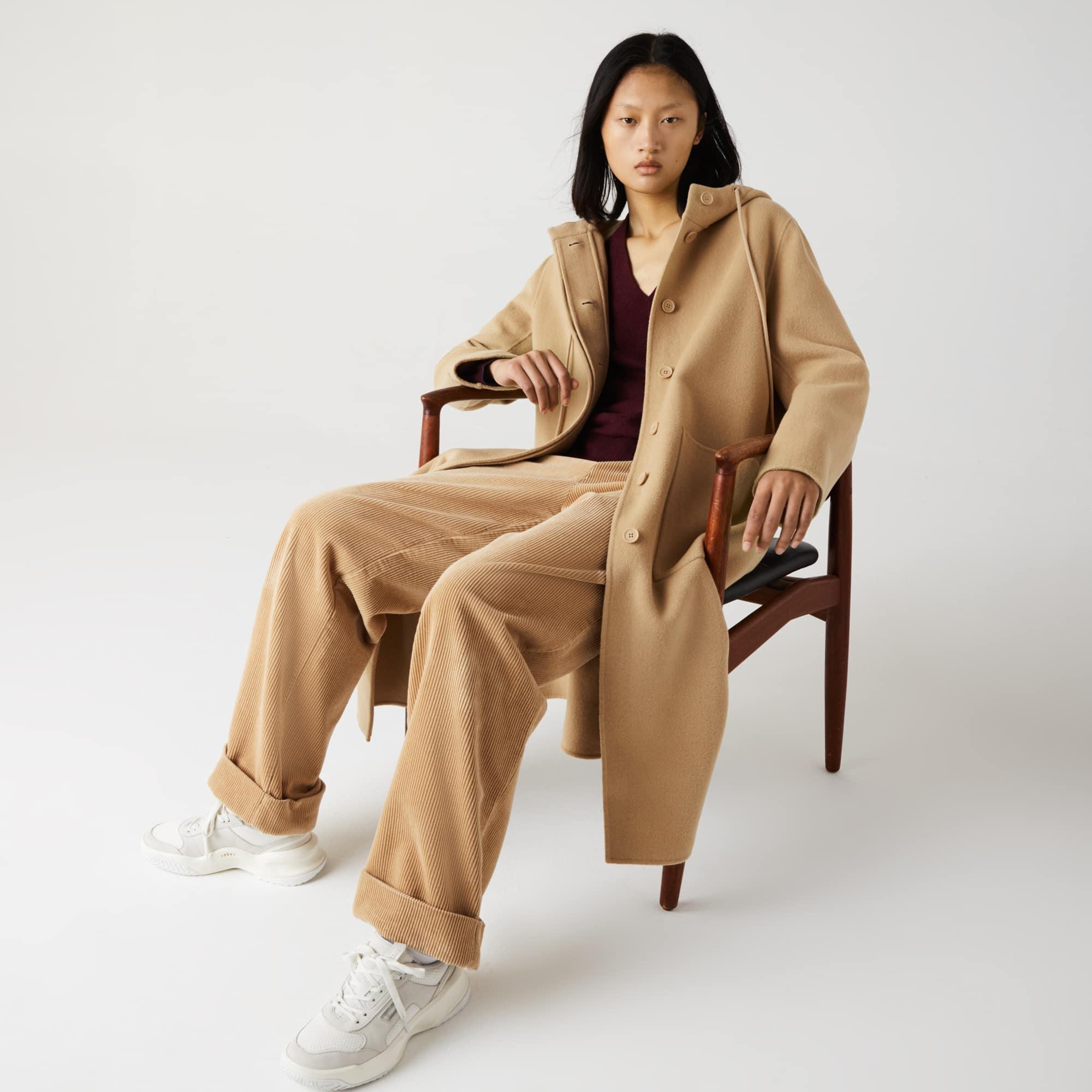 Lacoste Womens Hooded Zippered Long Wool Blend Coat