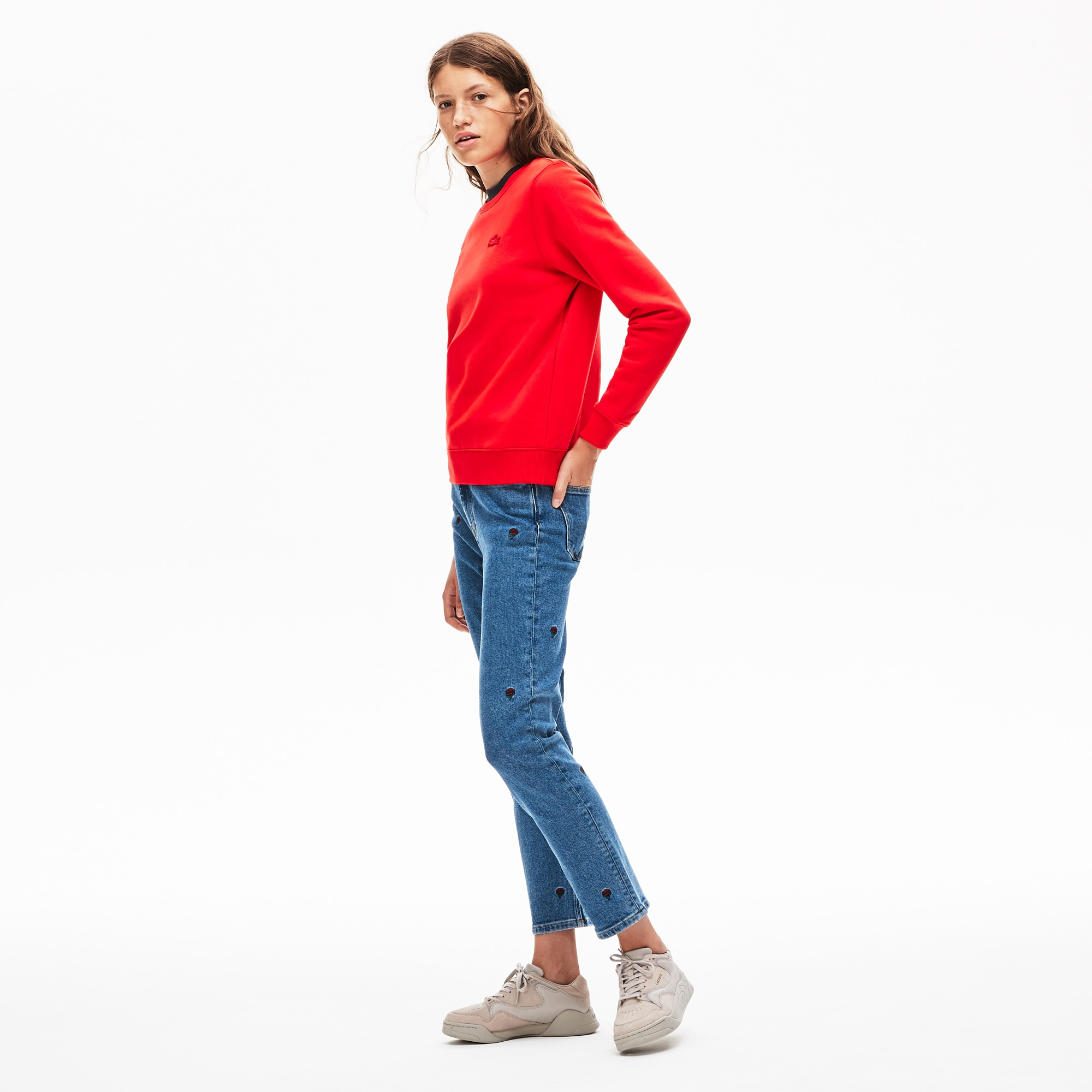 Lacoste Jeans Women's LIVE Rose-Embroidered Cropped Jeans