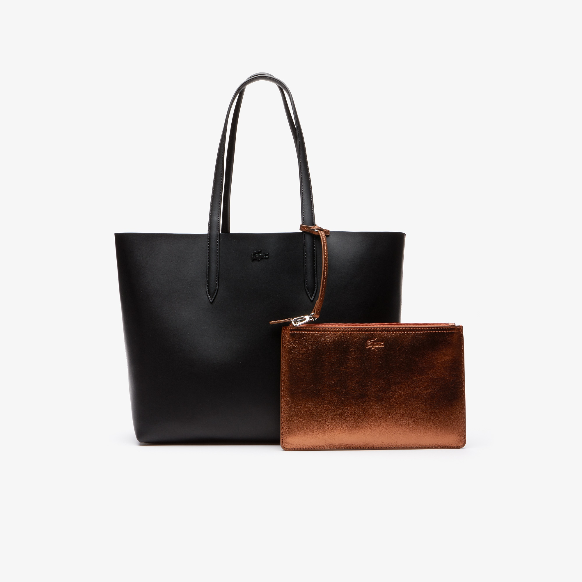 라코스테 Lacoste Womens Anna Reversible Matte And Iridescent Leather Tote,black 2132