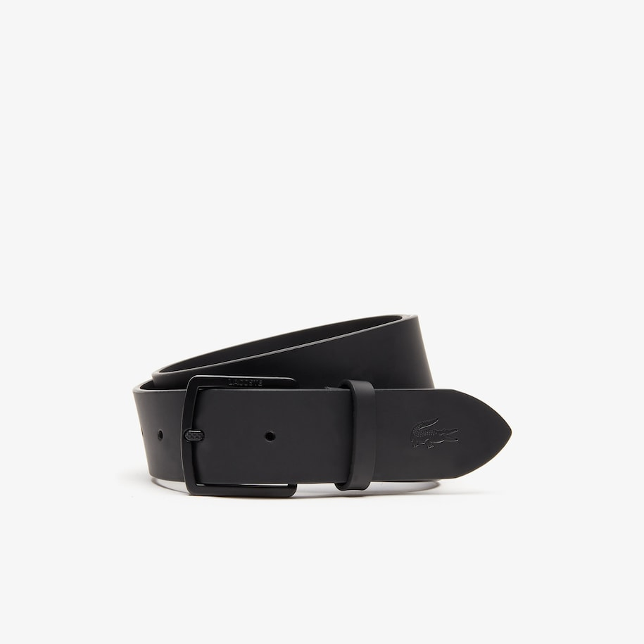 Men's Lacoste Engraved Buckle And Crocodile Smooth Leather Belt