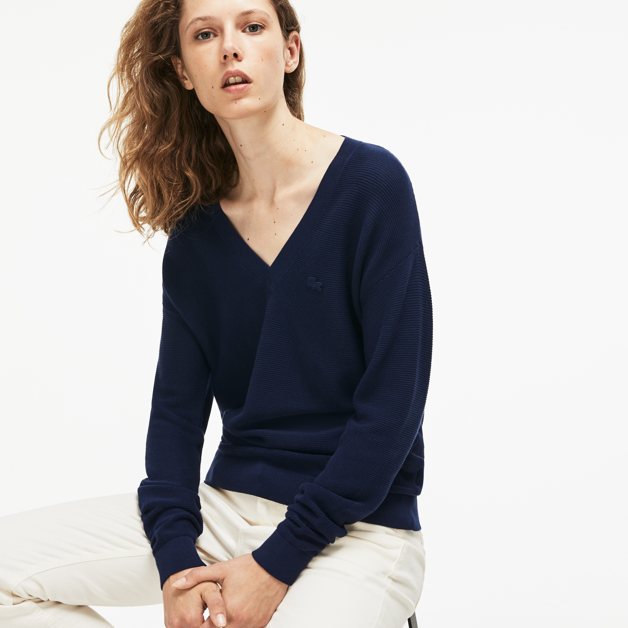 Women's V-neck Seed Stitch Cotton Sweater