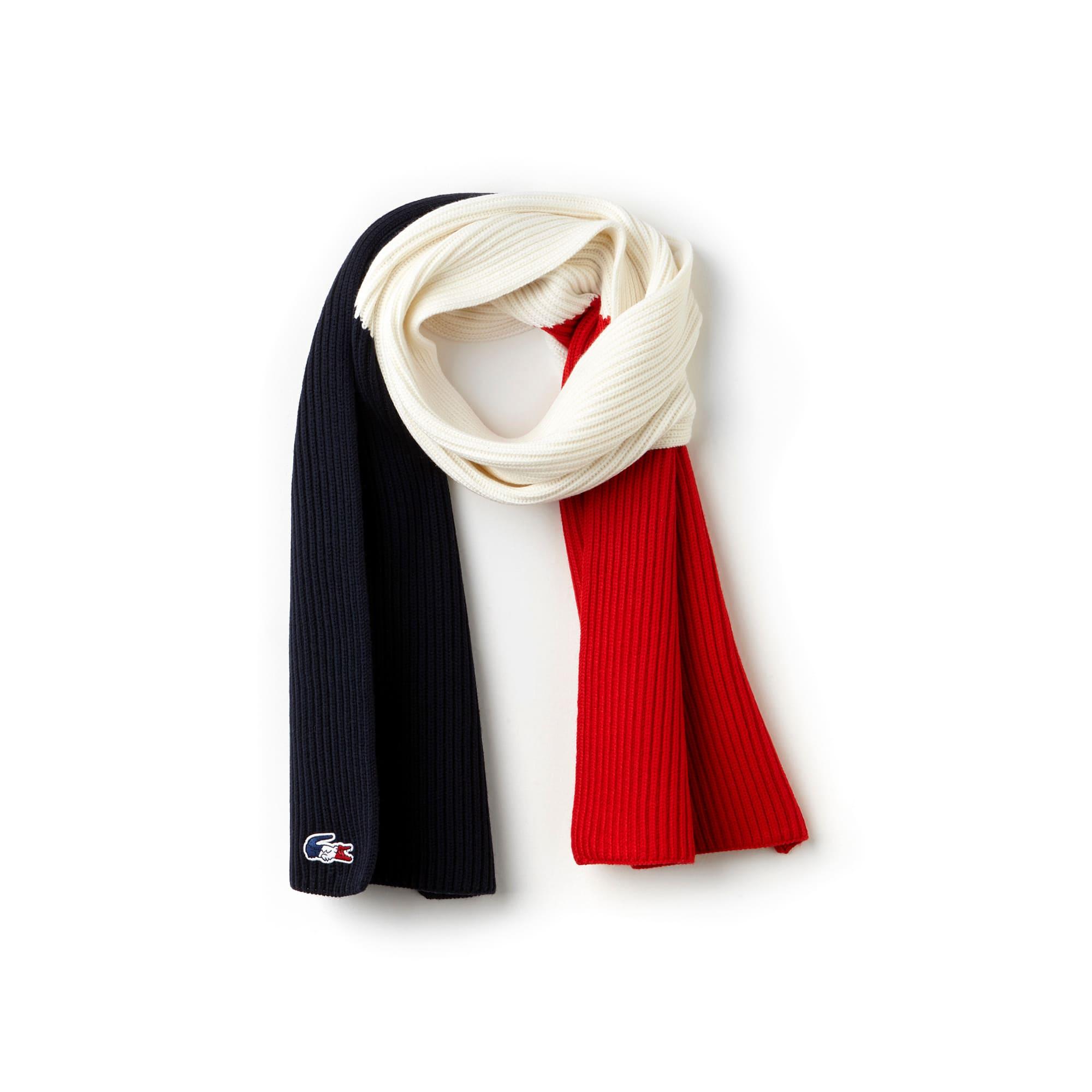 라코스테 Lacoste Mens French Sporting Spirit Edition Colorblock Wool Scarf,NAVY/WHITE-RED