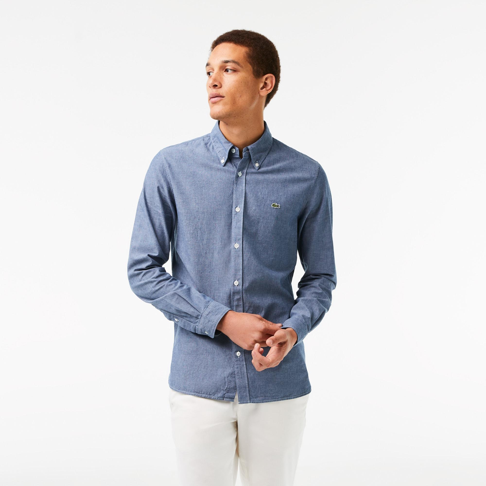 라코스테 맨 슬림핏 샴브레이 셔츠 Lacoste Mens Slim Fit Cotton Chambray Shirt