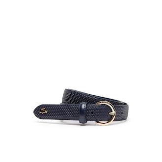 라코스테 우먼 벨트 Lacoste Womens Chantaco Engraved Round Buckle Leather Belt,PEACOAT - 021
