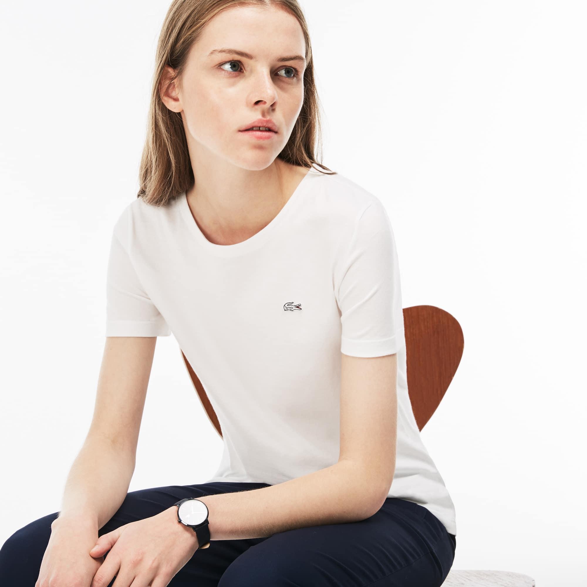 Women's Crew Neck Flowing Cotton Jersey T-shirt | LACOSTE