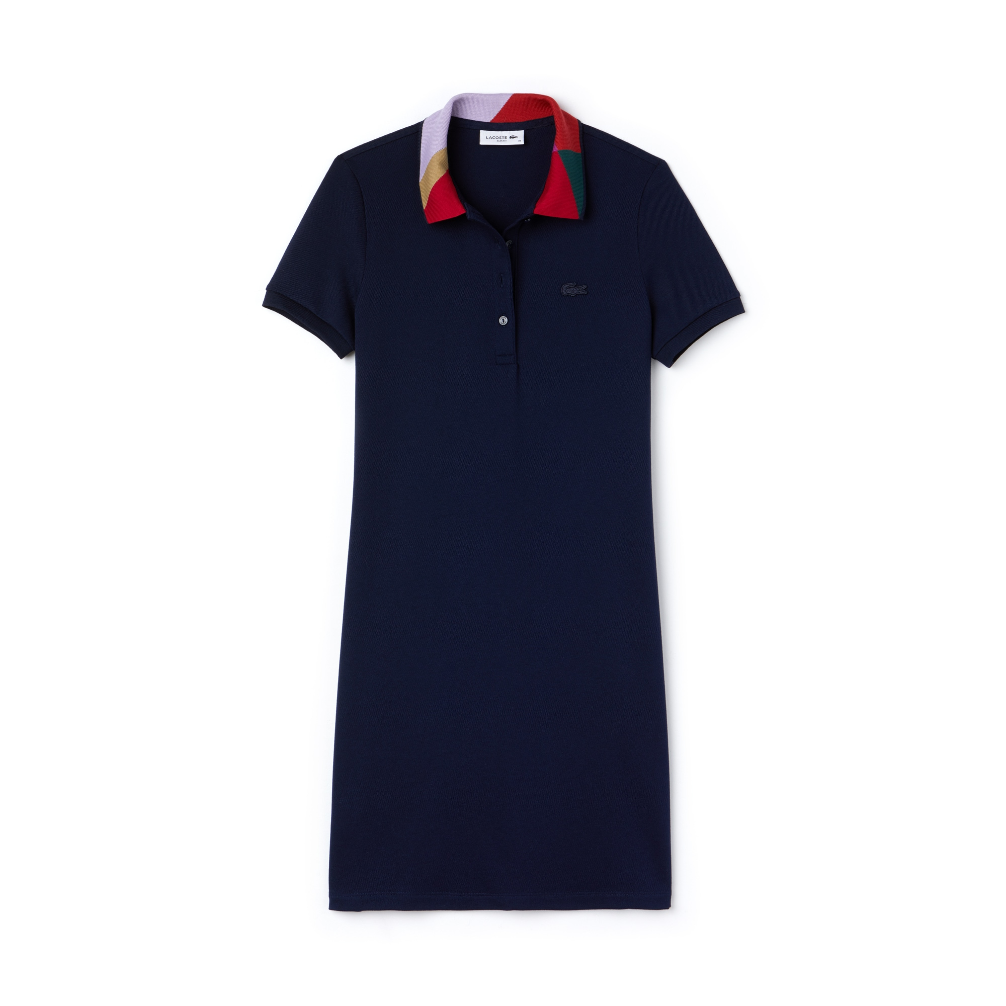 Women's Slim Fit Jacquard Neck Mini Piqué Polo Dress
