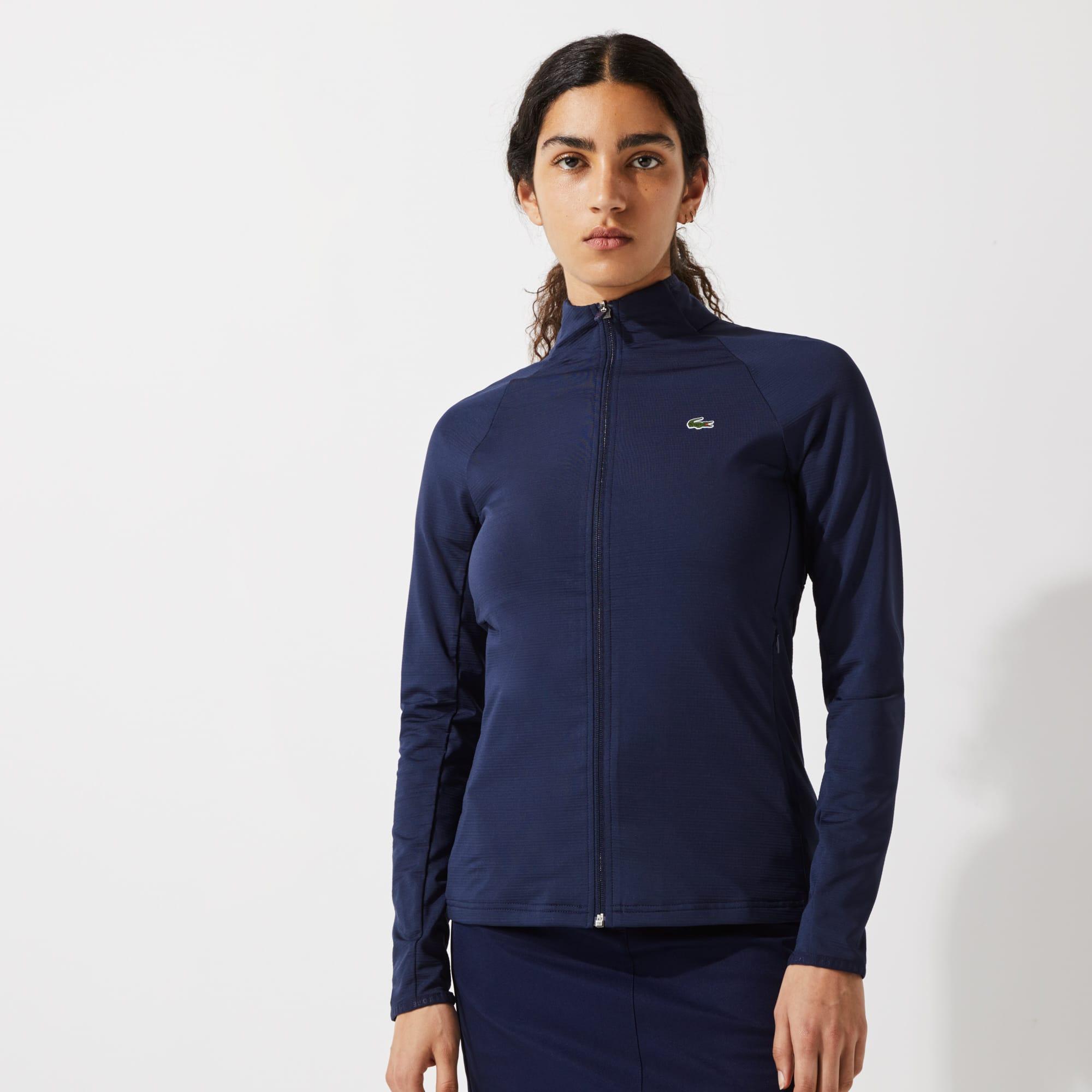 라코스테 우먼 스포츠 골프 자켓 Lacoste Womens SPORT Breathable Ergonomic Zip Golf Jacket,Navy Blue 423