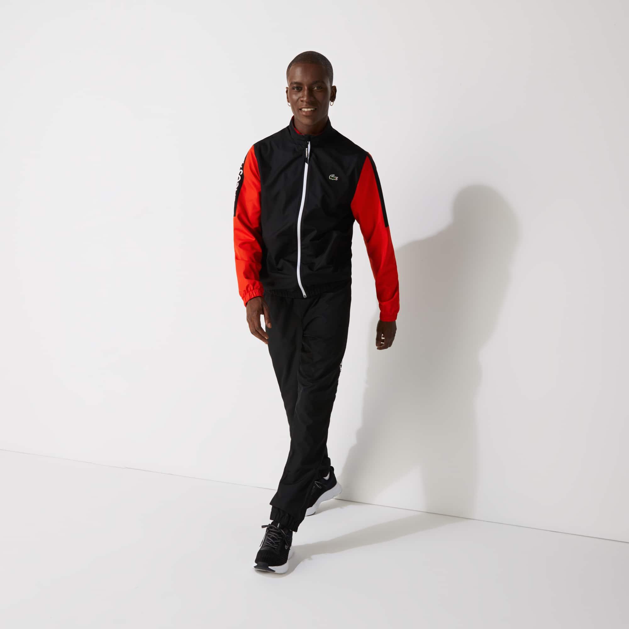 라코스테 Lacoste Men's SPORT Stand-up Neck Colorblock Tracksuit,Black / Red / Black / White - Q47 (Selected colour