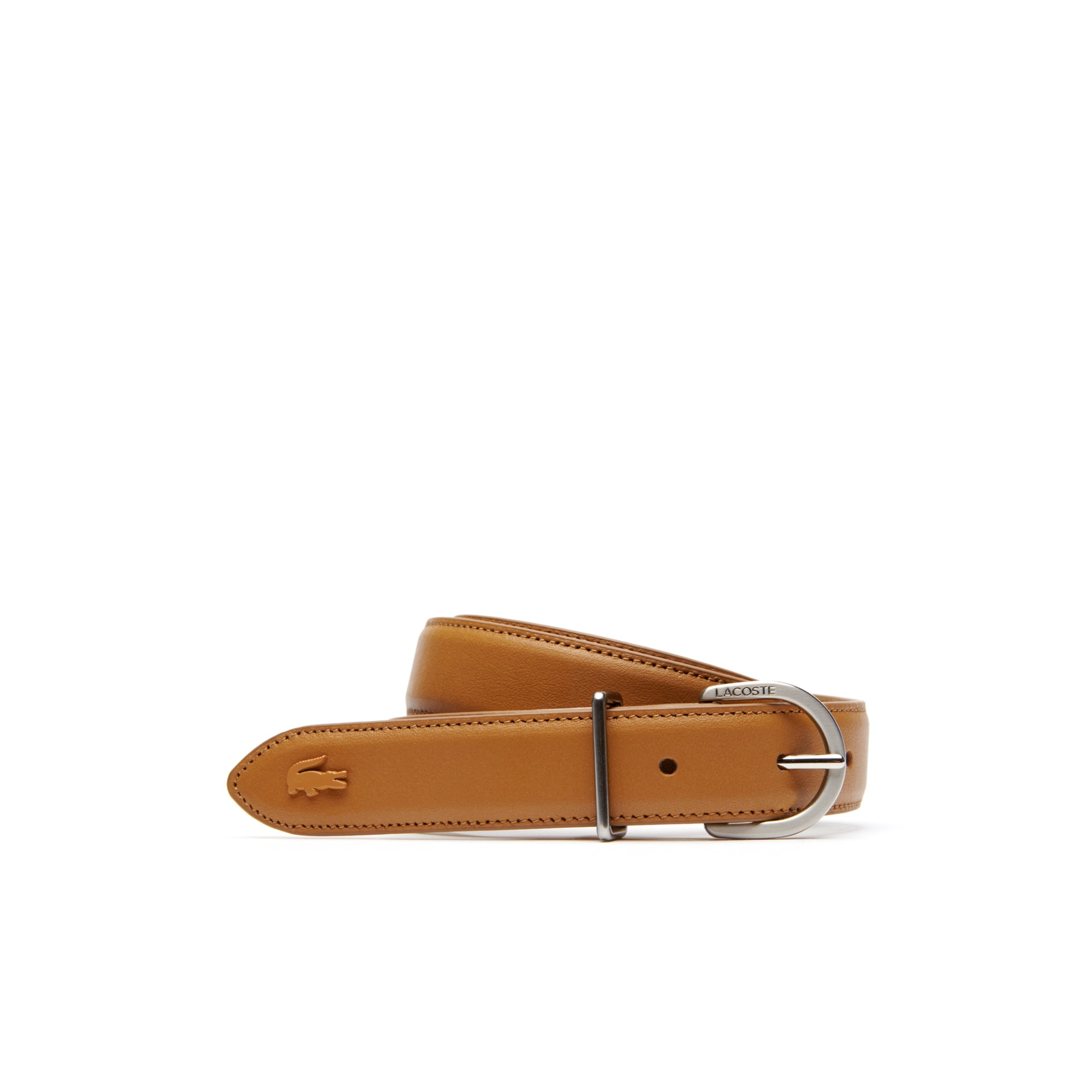 라코스테 Lacoste Womens L.12.12 Engraved Tongue Buckle Leather Belt,cashew