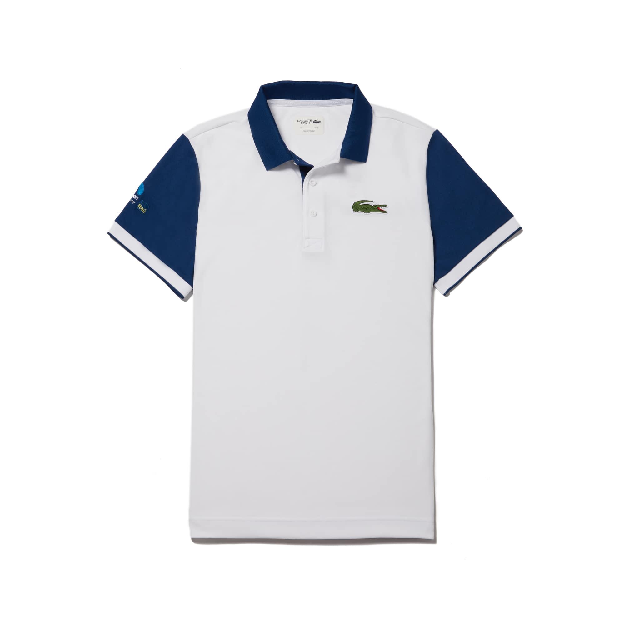라코스테 스포츠 반팔 카라티 Lacoste Mens SPORT Miami Open Colorblock Tech Pique Tennis Polo,white/royal blue