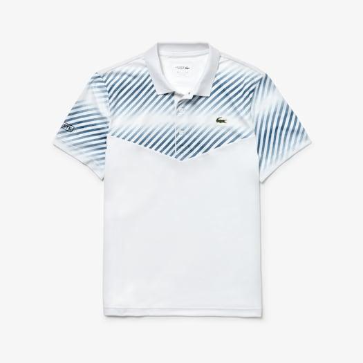 라코스테 스포츠 테니스 테크니컬 피케 폴로 셔츠 Lacoste Mens SPORT Technical Pique Tennis Polo,White / White / Blue / Black