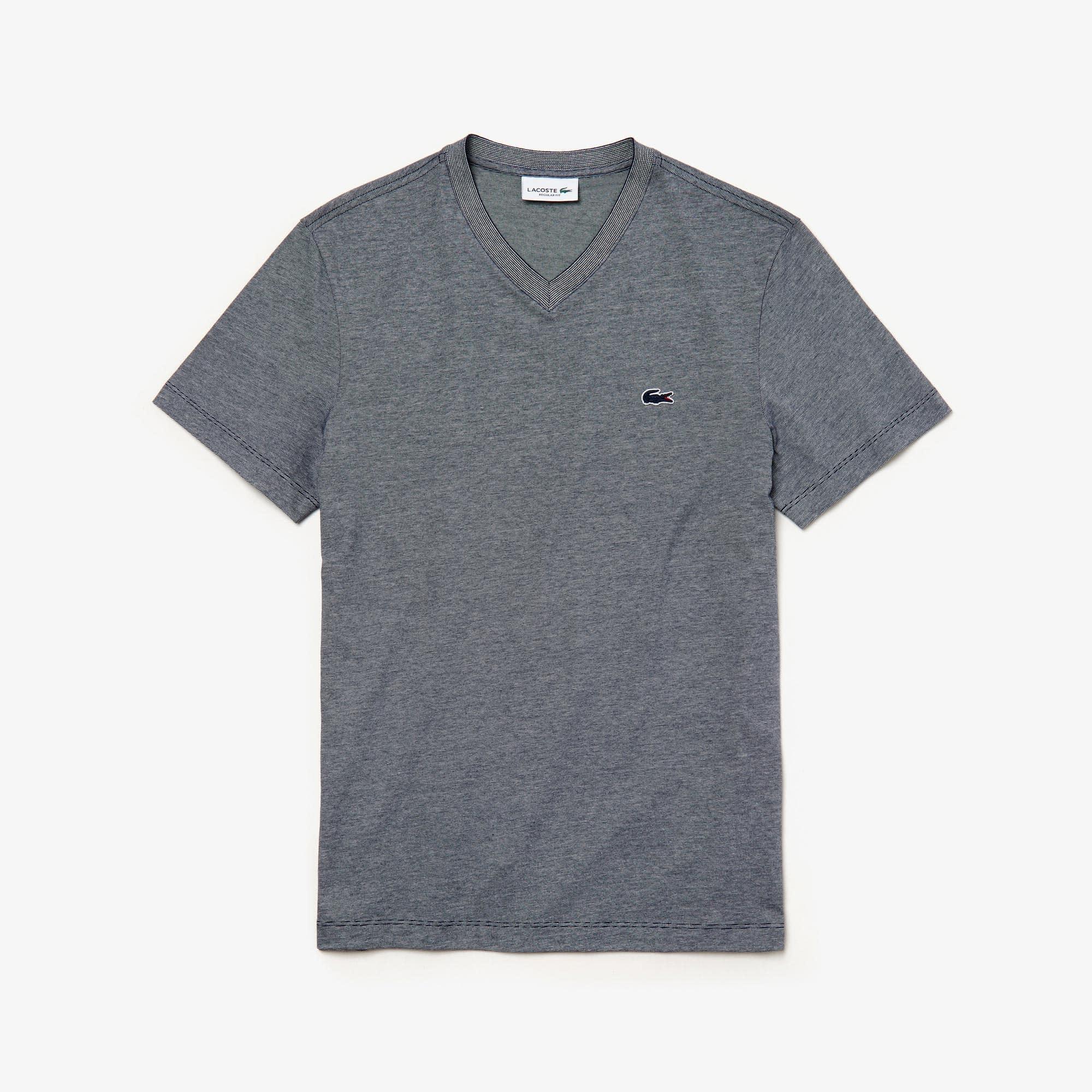 라코스테 반팔티 브이넥 반팔 티셔츠 Lacoste Mens V-Neck Cotton T-shirt,Navy Blue / White - HHW