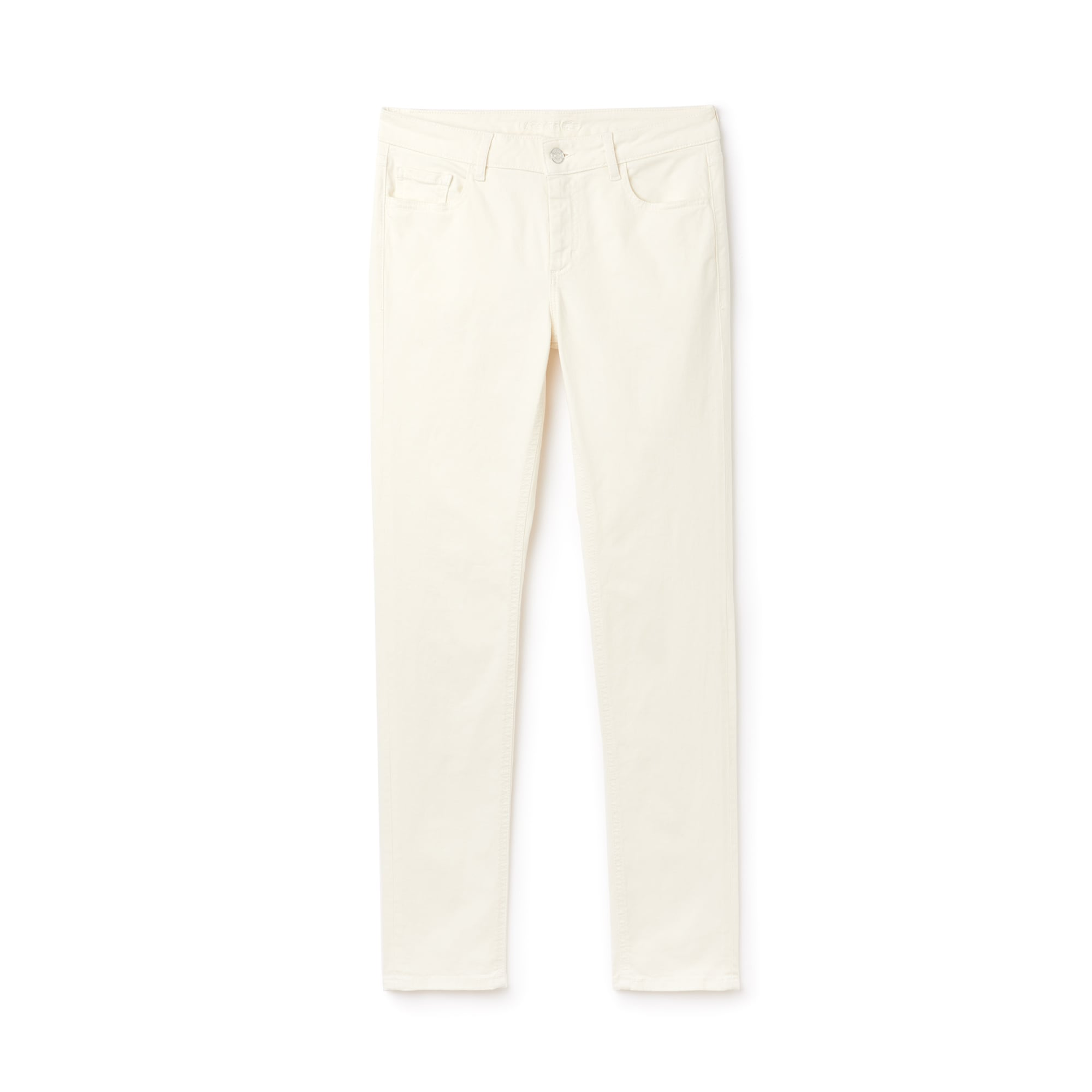 라코스테 Lacoste Womens Slim Fit Stretch Cotton Denim Jeans,white