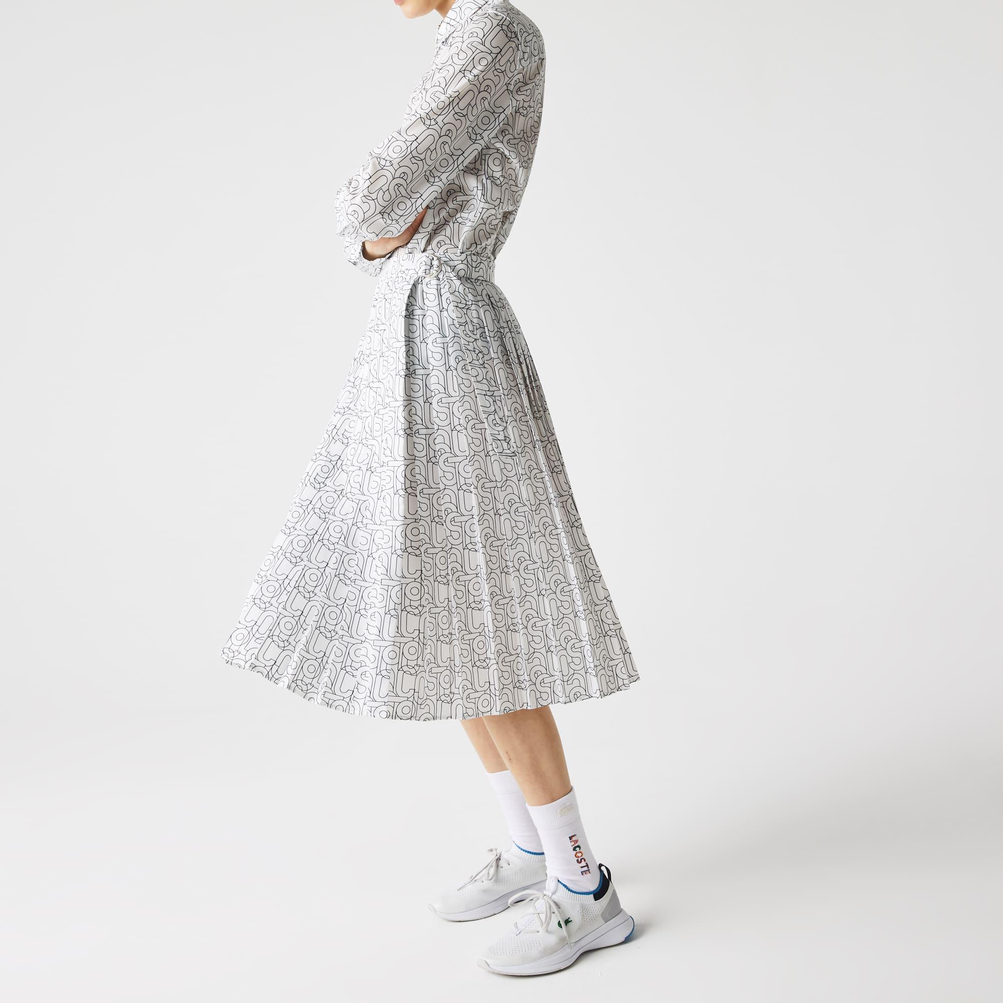 라코스테 스커트 Women's Lacoste Patterned Flowy Mid-Length Pleated Skirt,White / Navy Blue EZ6
