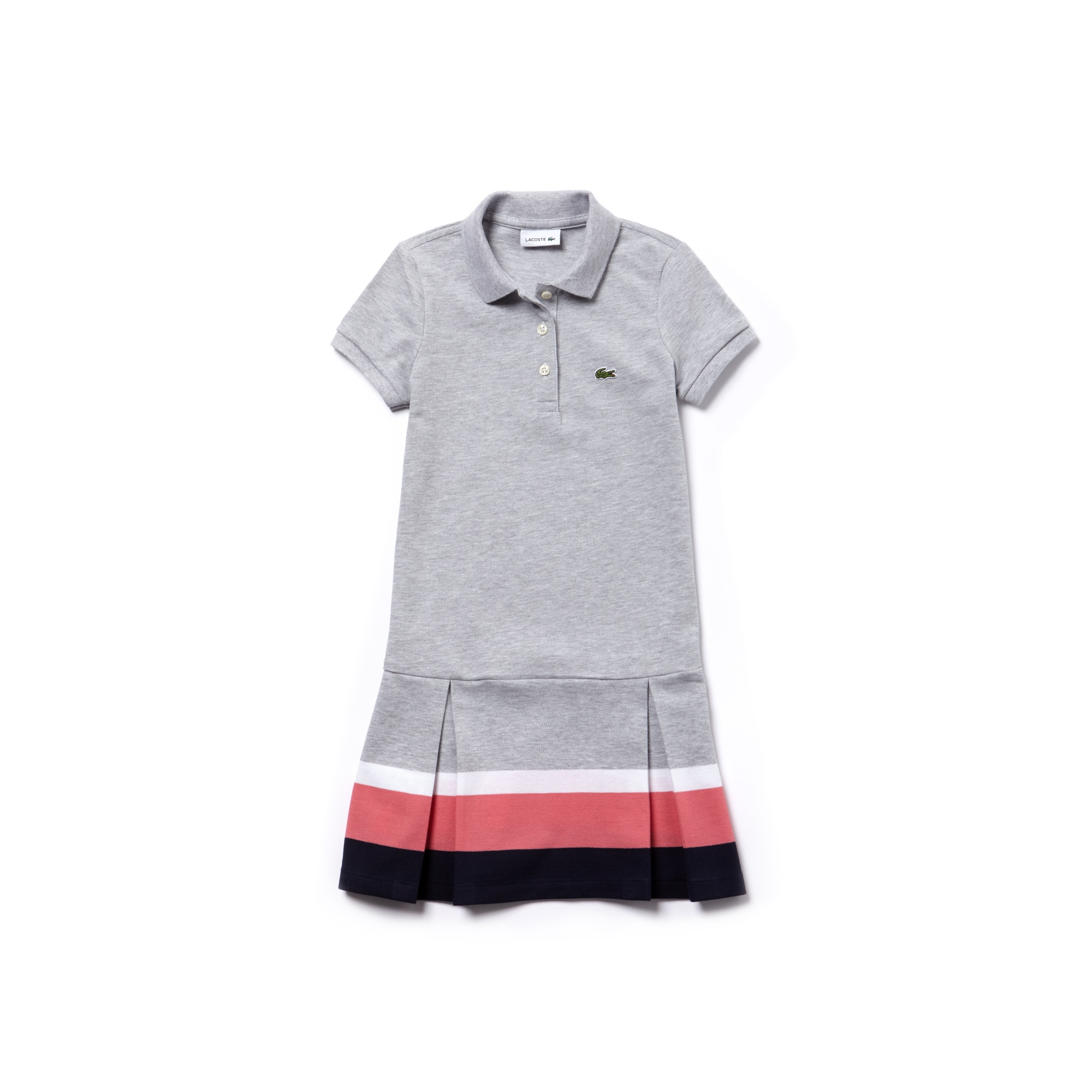 Girls' Contrast Band Pleated Petit Piqué Polo Dress
