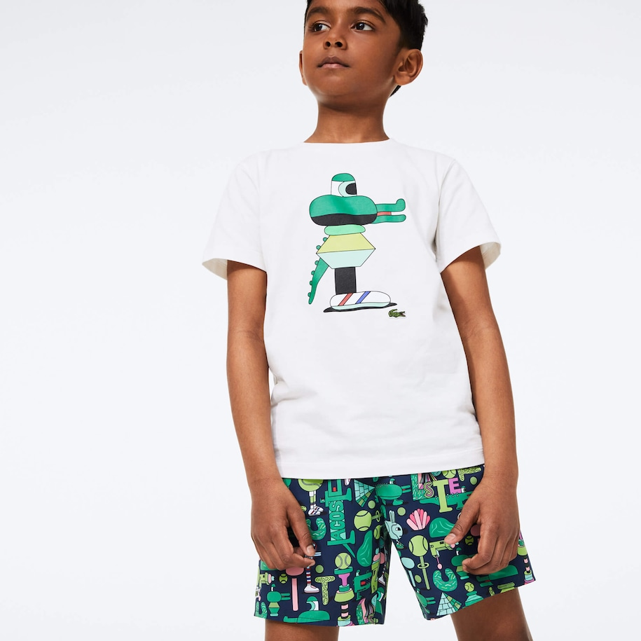 Boys' Lacoste x Jeremyville Graphic Printed Swim Trunks