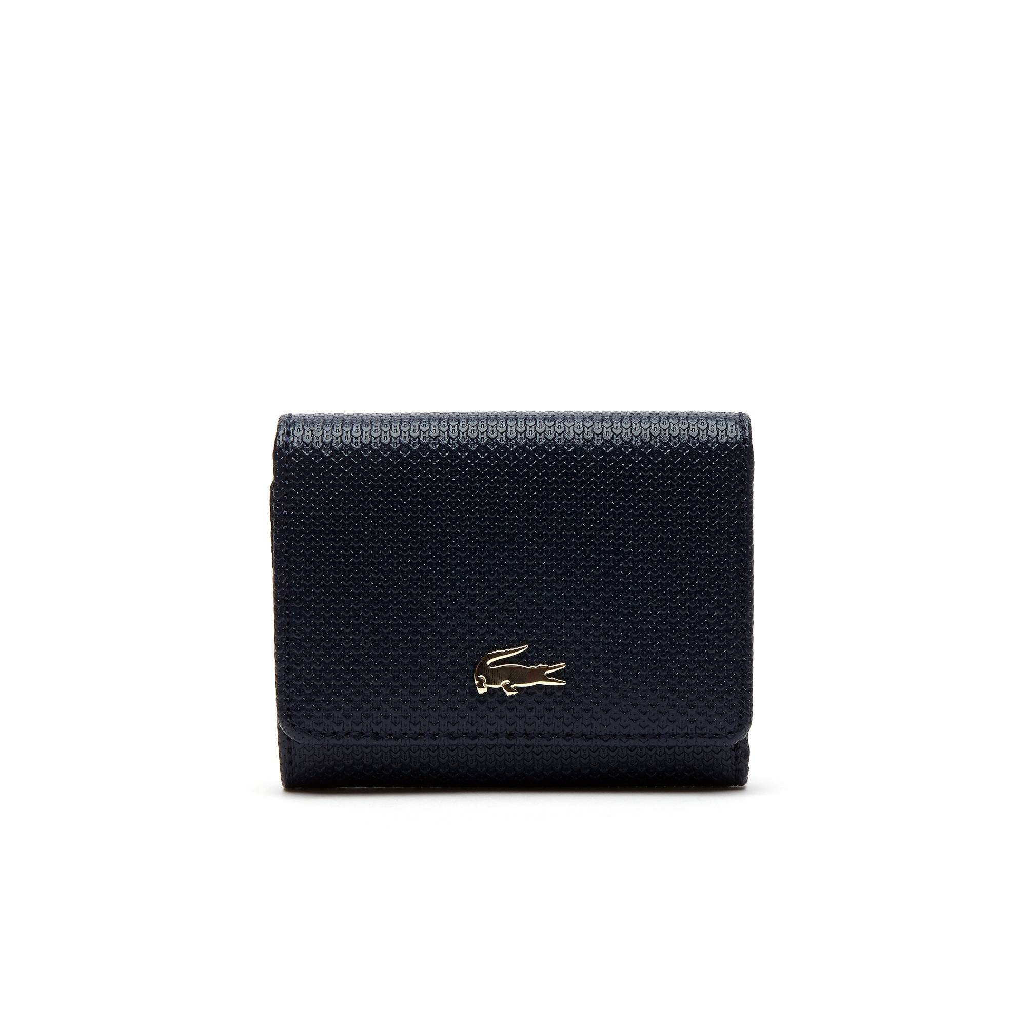 라코스테 지갑 Lacoste Womens Chantaco Pique Leather Six Card Wallet,peacoat