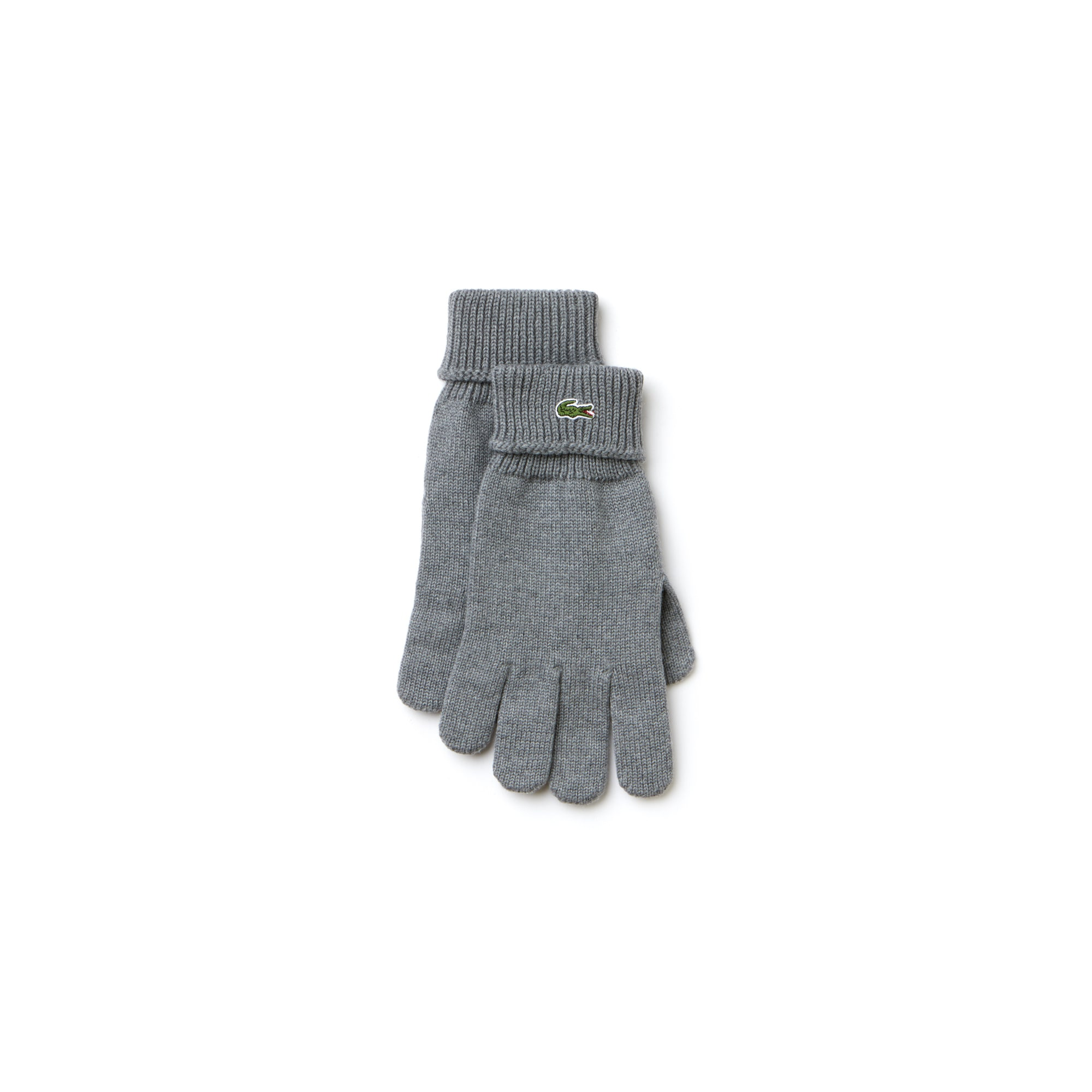 라코스테 장갑 Lacoste Mens Ribbed Wool Gloves,stone grey
