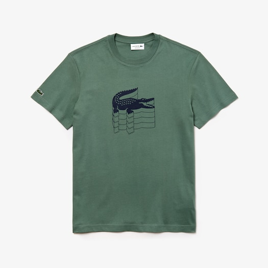라코스테 Lacoste Mens Crew Neck Cotton Pique T-shirt,Khaki Green - 307