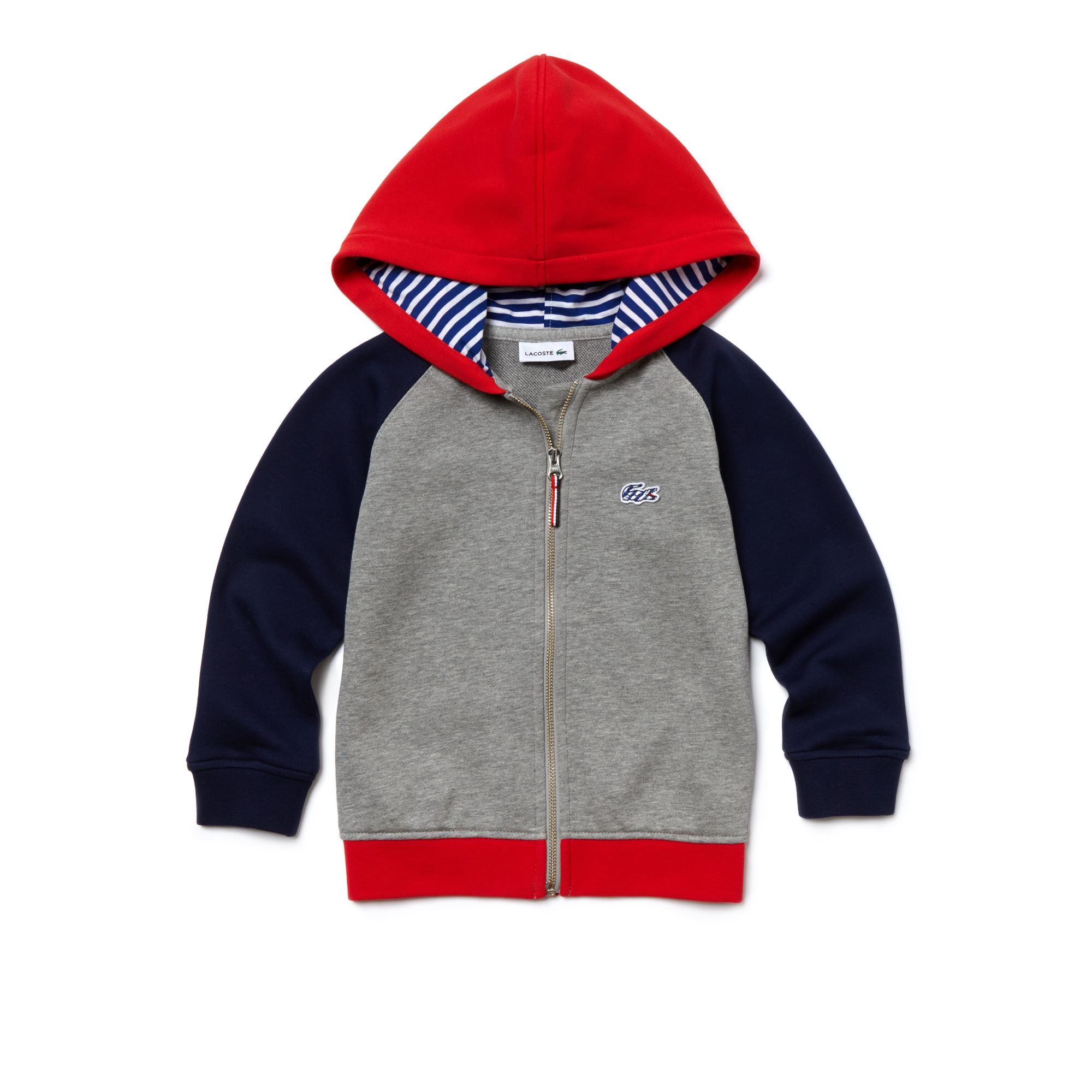 Kids' Hooded Zippered Colorblock Fleece Sweatshirt