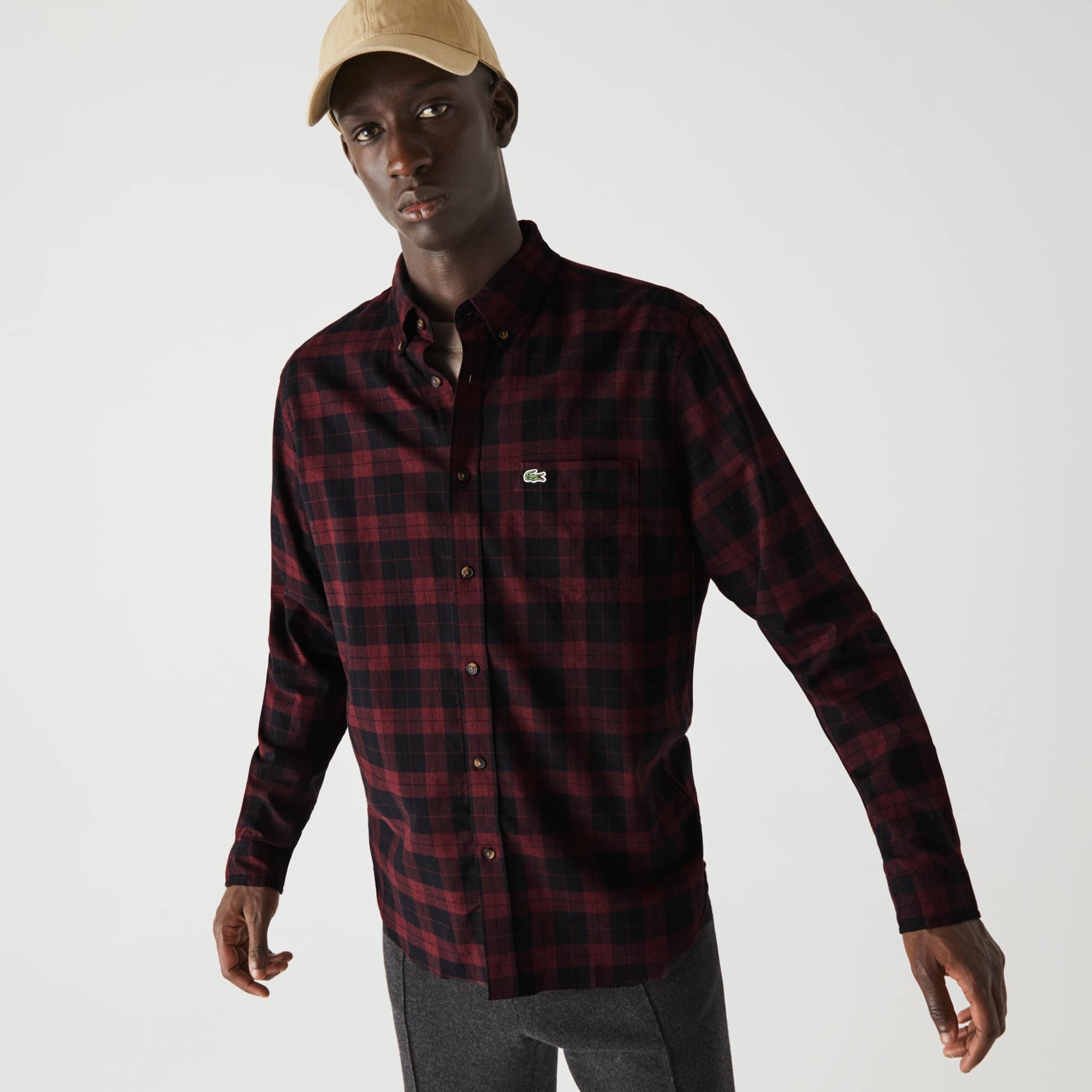 라코스테 맨 체크 셔츠 Lacoste Mens Regular Fit Cotton Twill Checkered Shirt