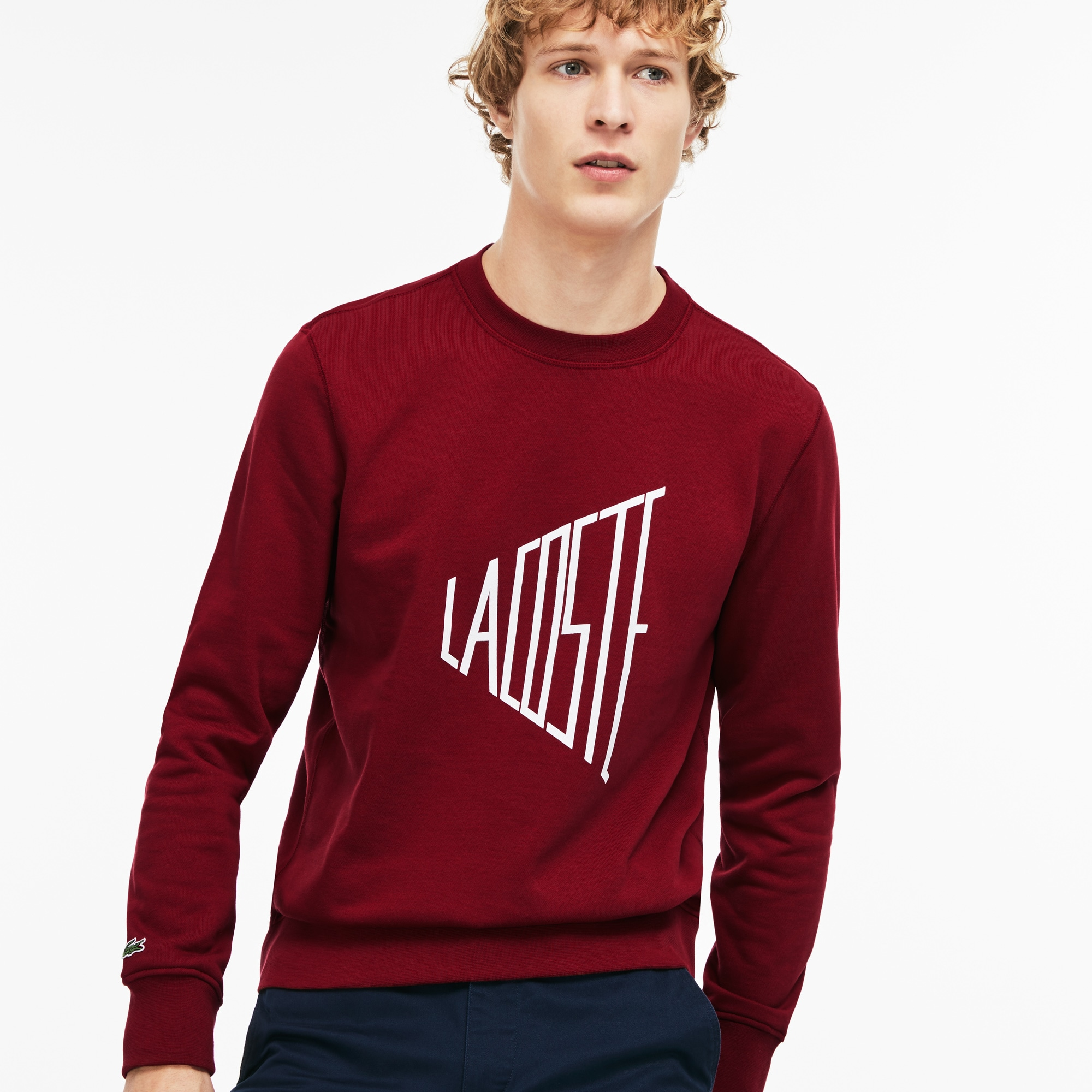 Men's Crew Neck Lacoste Lettering Fleece Sweatshirt