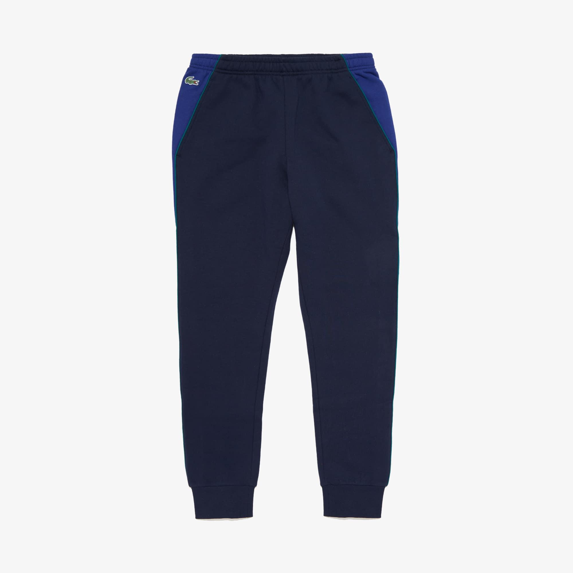 라코스테 Lacoste Mens SPORT Colorblock Bands Fleece Sweatpants,Navy Blue / Green - 3ZX