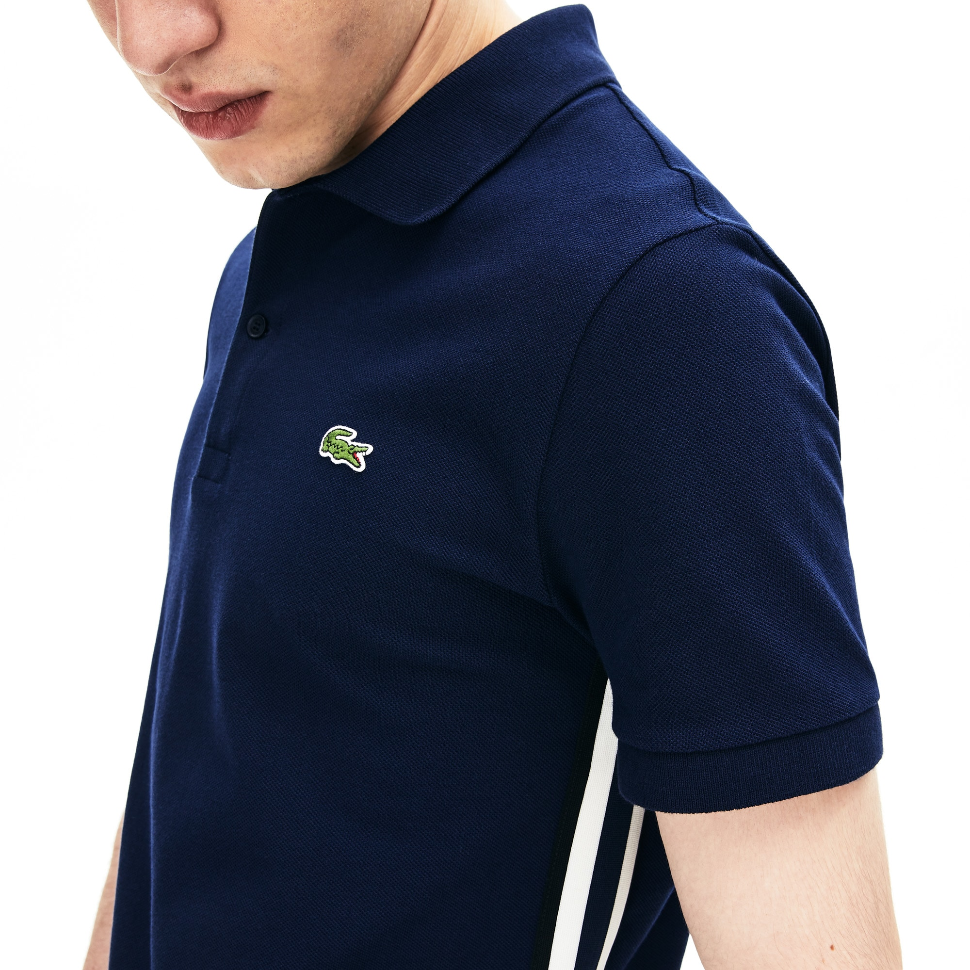 Men's Short Sleeve Side Stripe Pique Polo